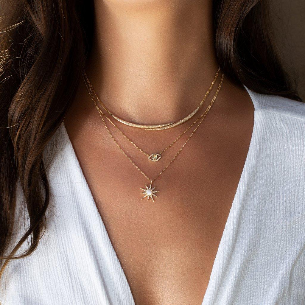 Anne Sisteron 14kt Rose Gold Diamond Horn Wrap Necklace