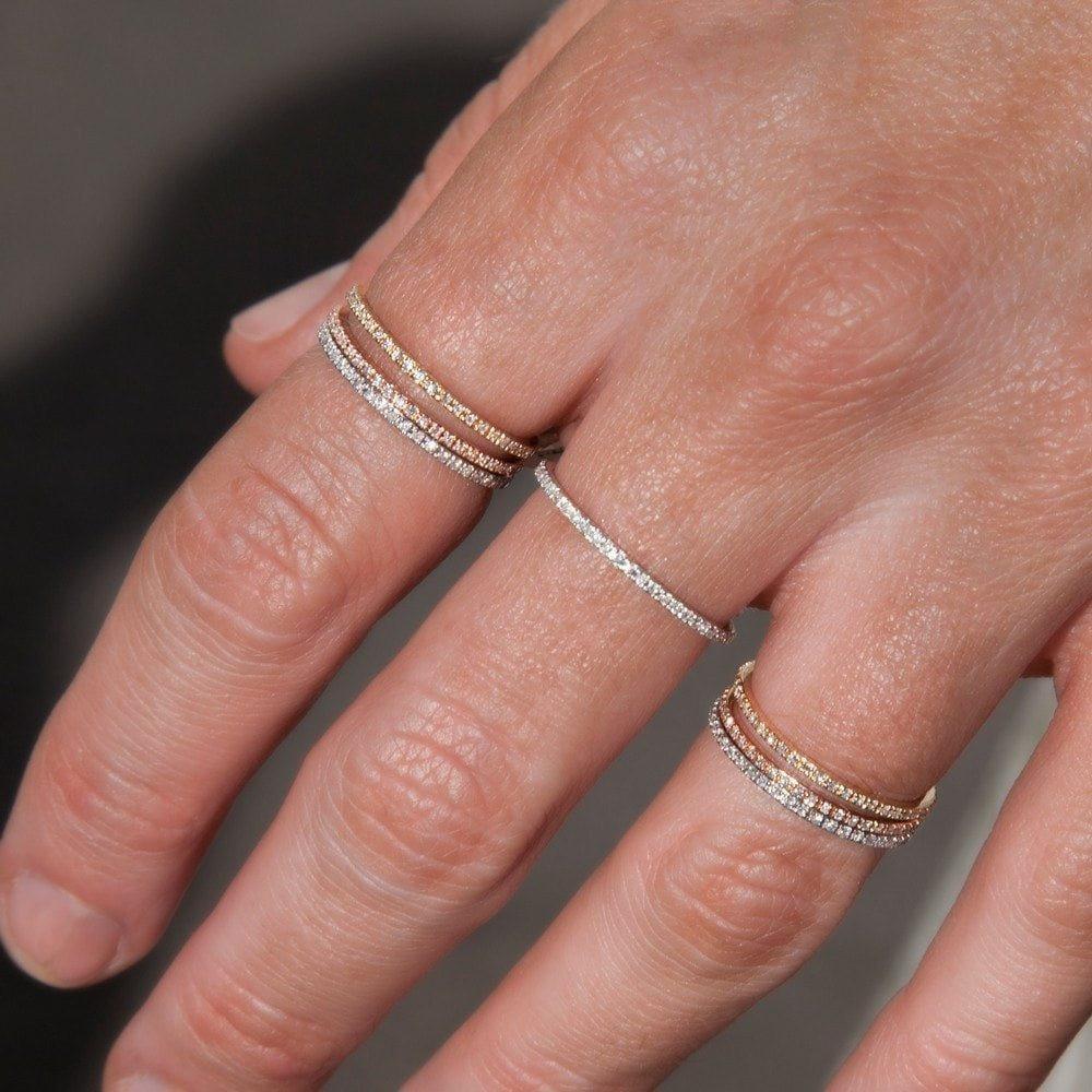 Anne Sisteron 14kt Yellow Gold Diamond Eternity Stacking Ring in Metallic