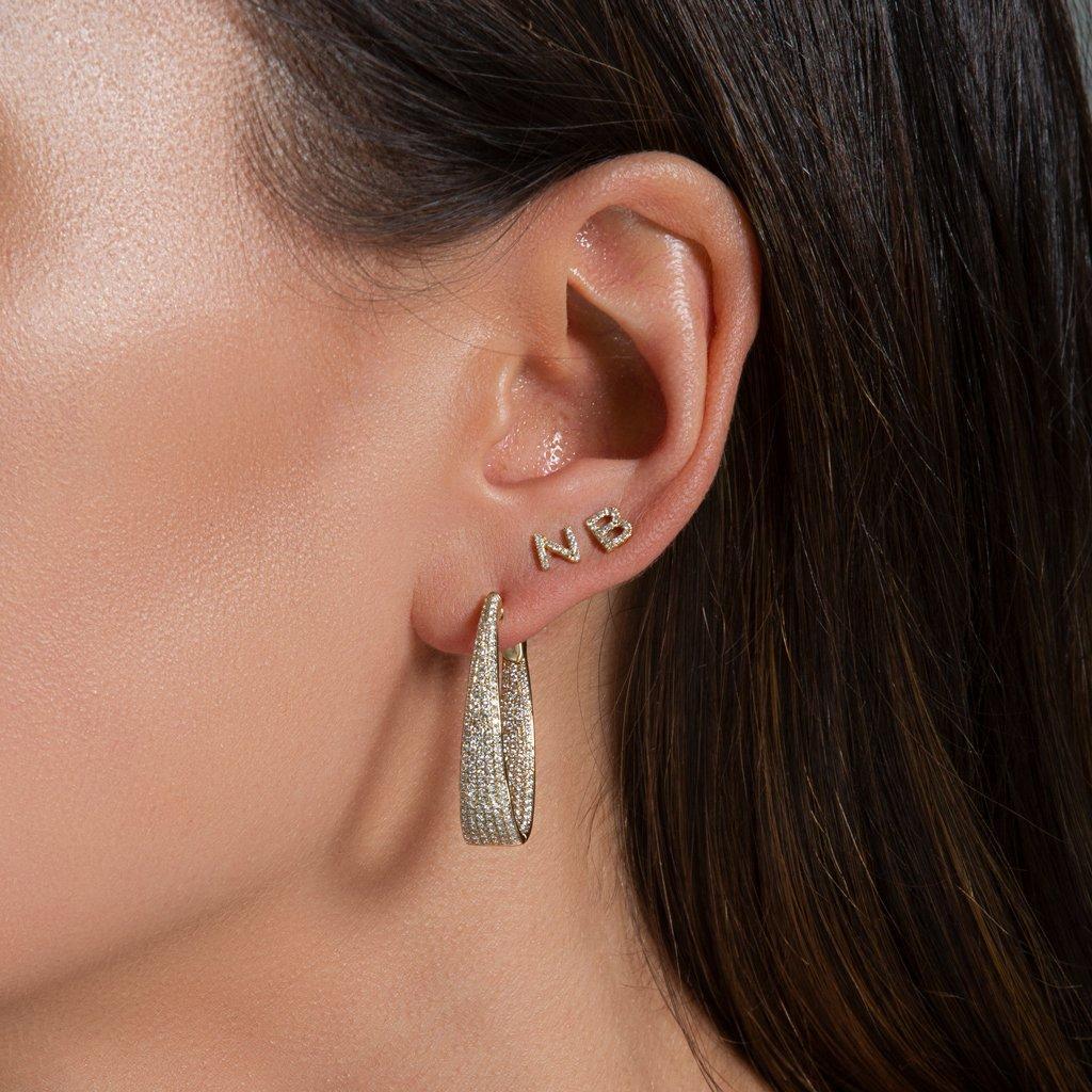 Anne Sisteron 14kt White Gold Diamond Initial Stud Earring in Metallic