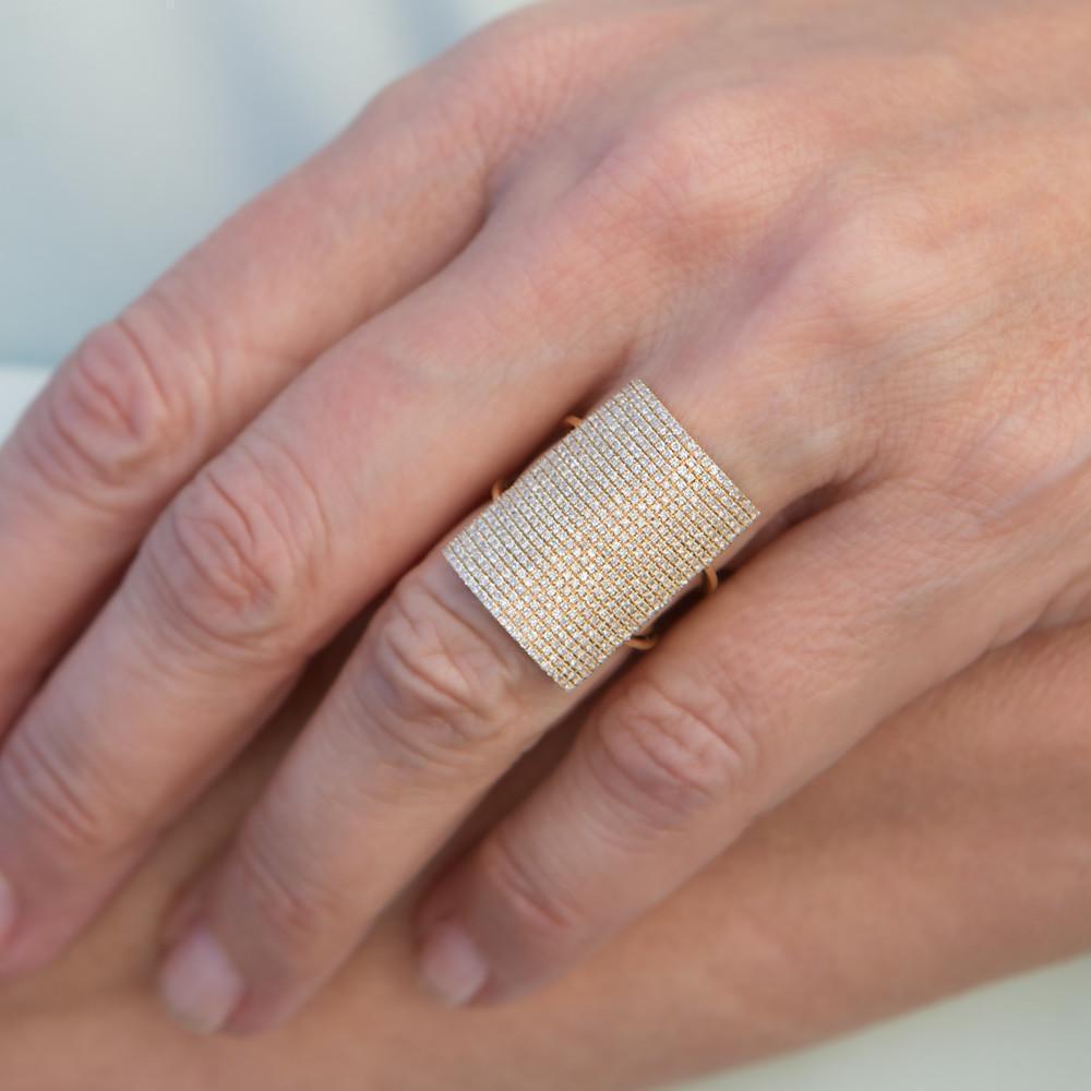 Anne Sisteron 14kt Rose Gold Diamond Rectangle Armor Ring
