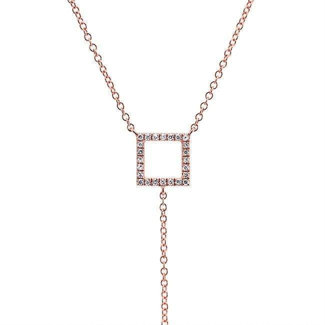 Anne Sisteron 14kt Rose Gold Open Square Diamond Lariat Necklace in Metallic