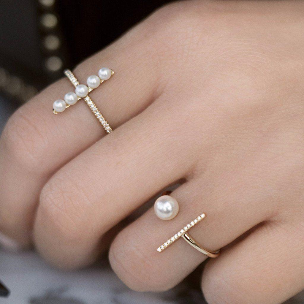Lyst - Anne Sisteron 14kt White Gold Diamond Bar And Pearl Open Tori ...