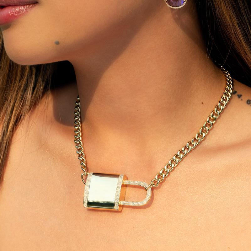Anne Sisteron 14kt Rose Gold Diamond Luxe Lovelock Necklace