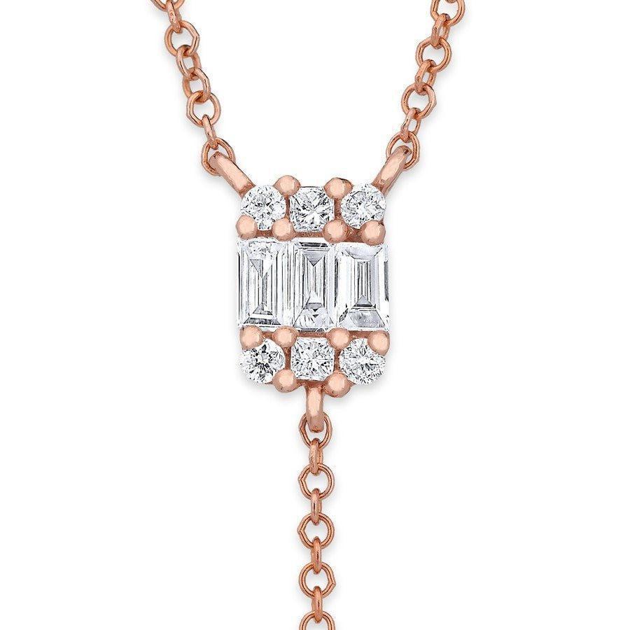 Anne Sisteron 14kt Rose Gold Baguette Diamond Mini Flirt Lariat in Metallic