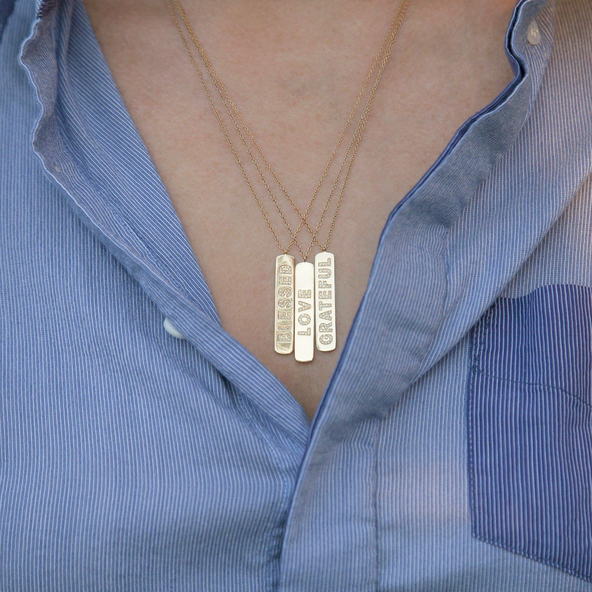Anne Sisteron 14kt Yellow Gold Diamond Blessed Tag Necklace in Metallic