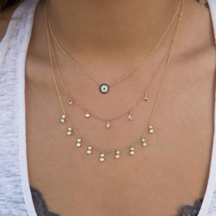 Anne Sisteron 14kt Rose Gold Diamond And Sapphire Mini Disc Necklace