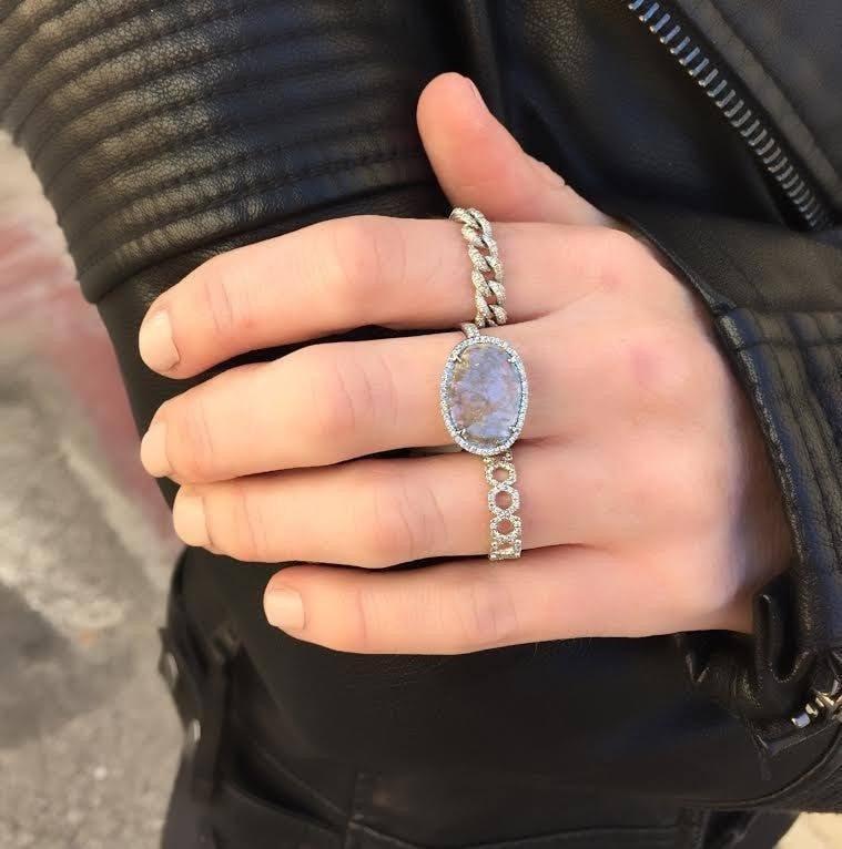 Anne Sisteron 14kt Yellow Gold Diamond Thin Chain Link Ring in Metallic
