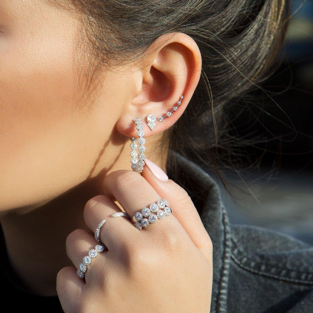 "Anne Sisteron 14kt White Gold Diamond Ellie 1.15"" Hoops"