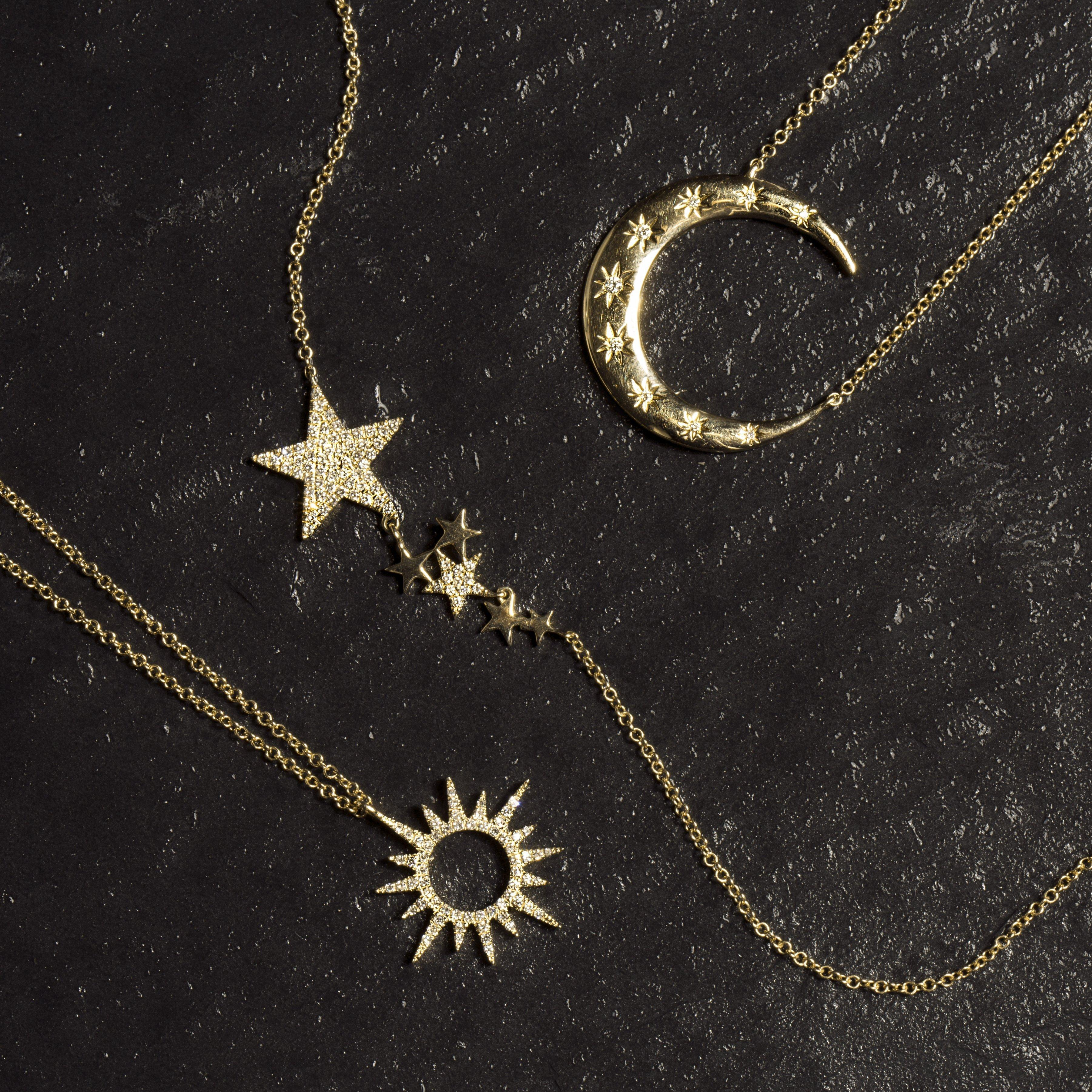 Anne Sisteron 14kt White Gold Diamond Starlight Moon Necklace in Metallic