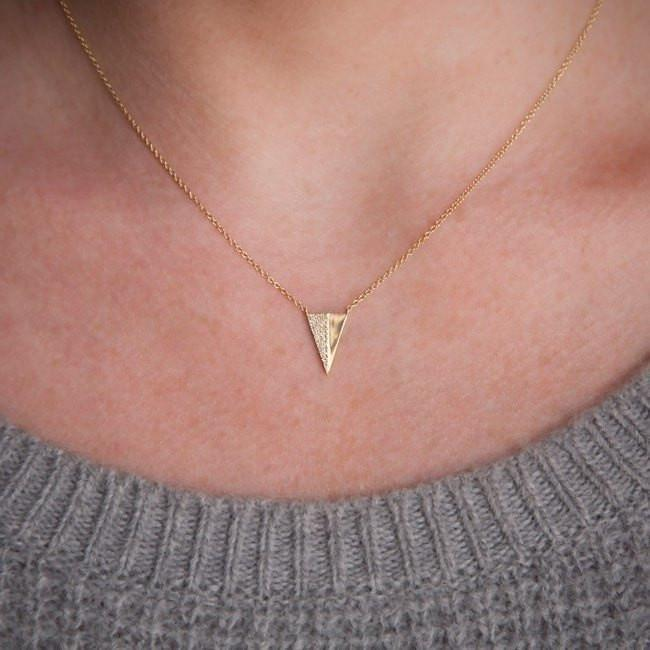 Anne Sisteron 14kt Rose Gold Half Diamond Long Triangle Necklace