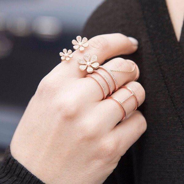 Anne Sisteron 14kt Rose Gold Diamond Bridge Ring
