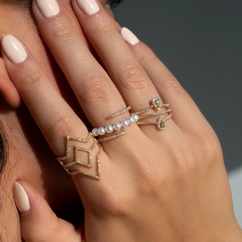 Anne Sisteron 14kt Yellow Gold Diamond Open Double Spear Ring in Metallic