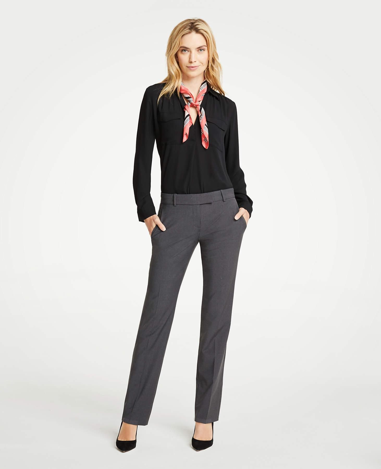Ann Taylor The Straight Pant In Tropical Wool in Grey