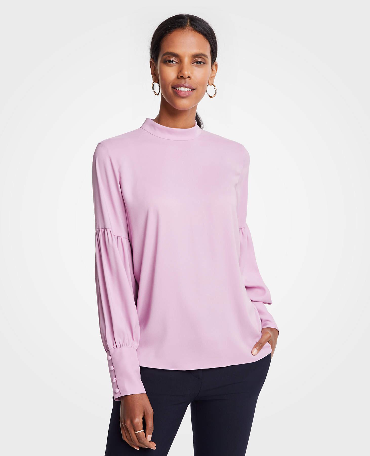d99e356bd92 Ann Taylor Mock Neck Lantern Sleeve Blouse in Pink - Lyst