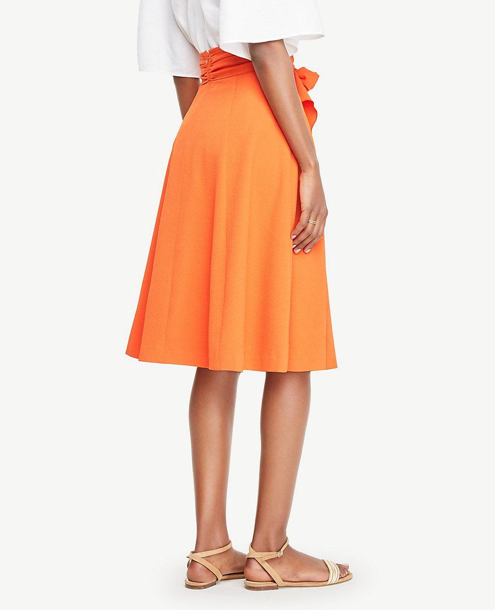 Ann Taylor Cotton Belted Full Skirt in Orange