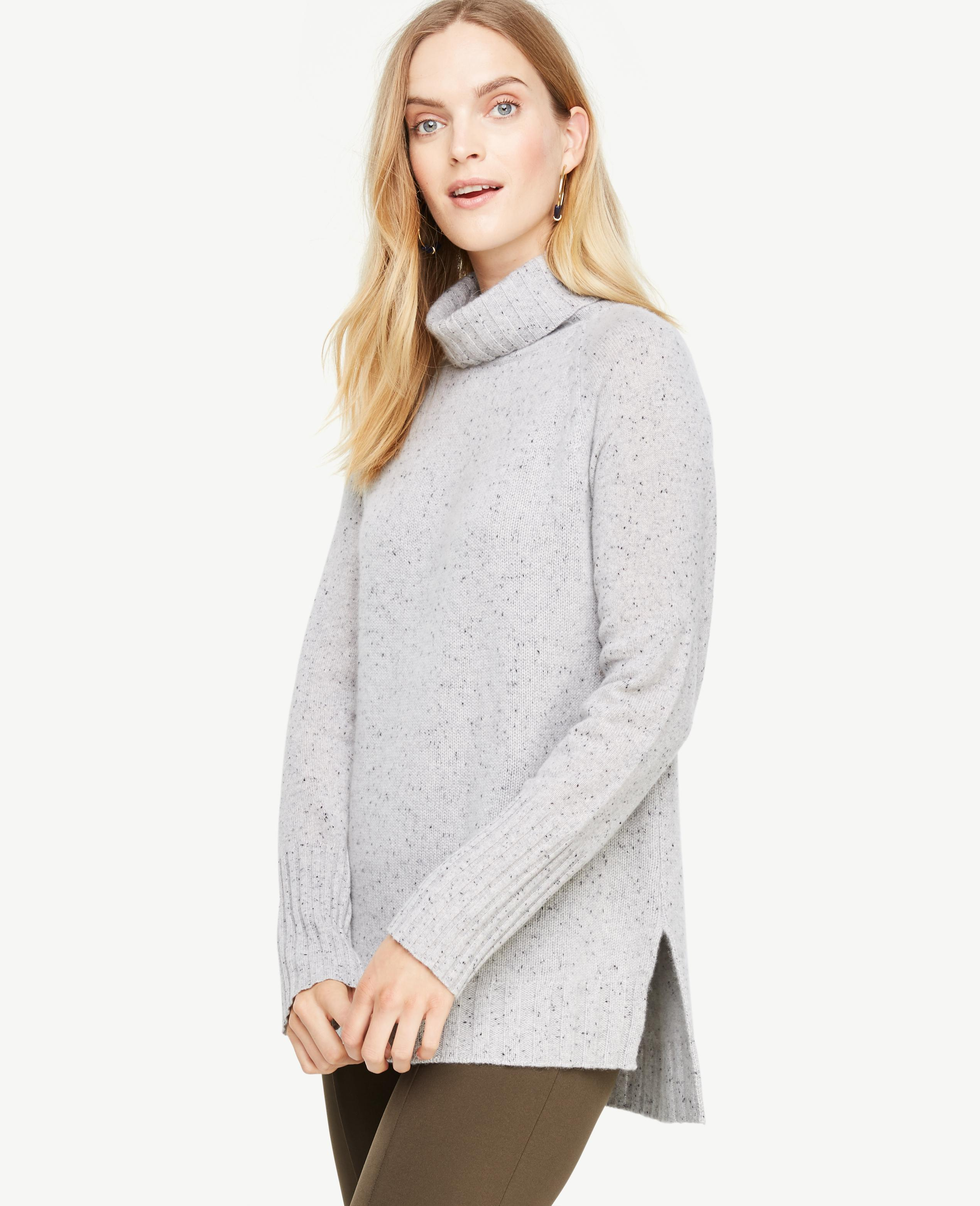 Ann taylor Cashmere Flecked Turtleneck Tunic Sweater in Gray | Lyst