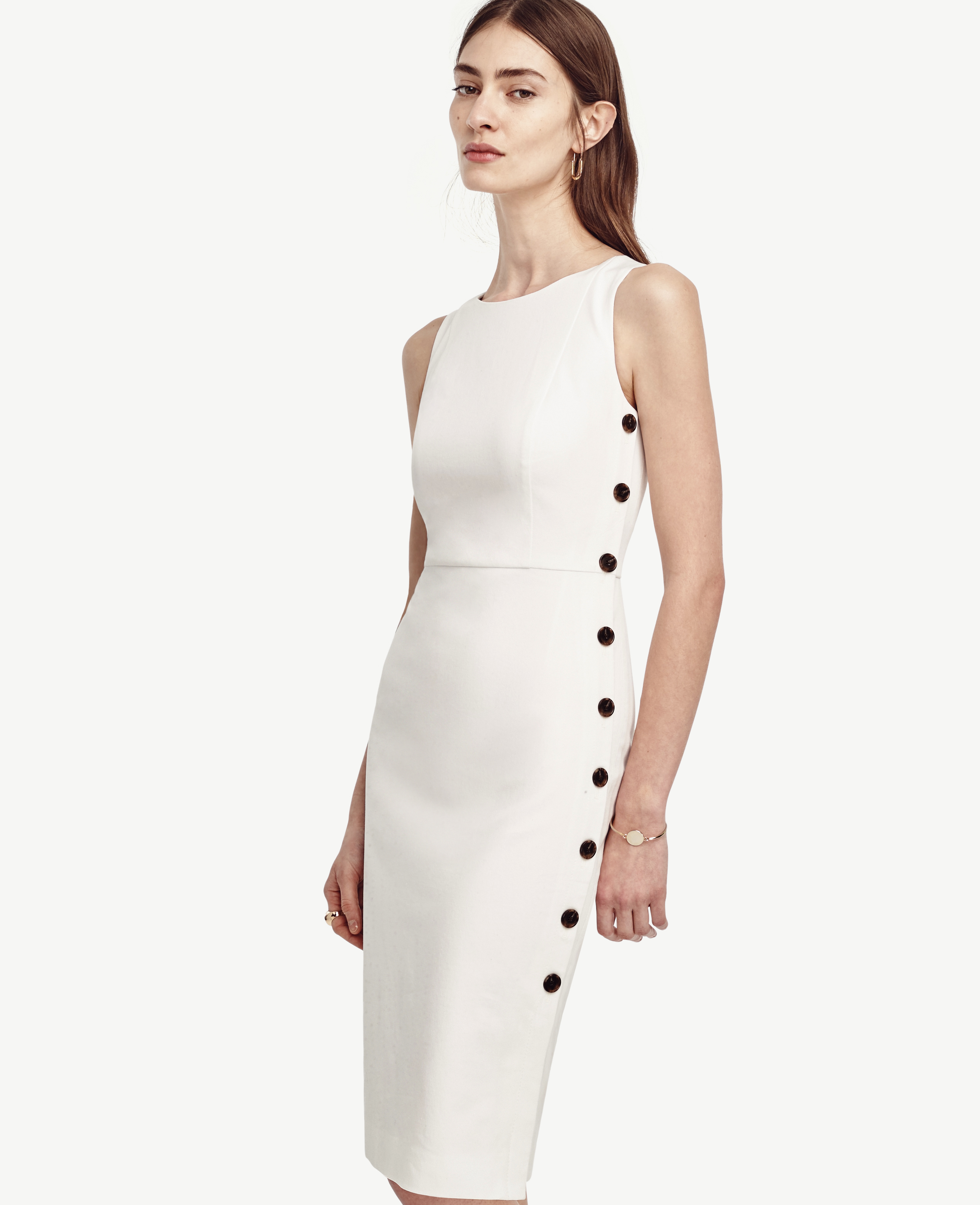 Ann Taylor Petite Side Button Dress In White Lyst