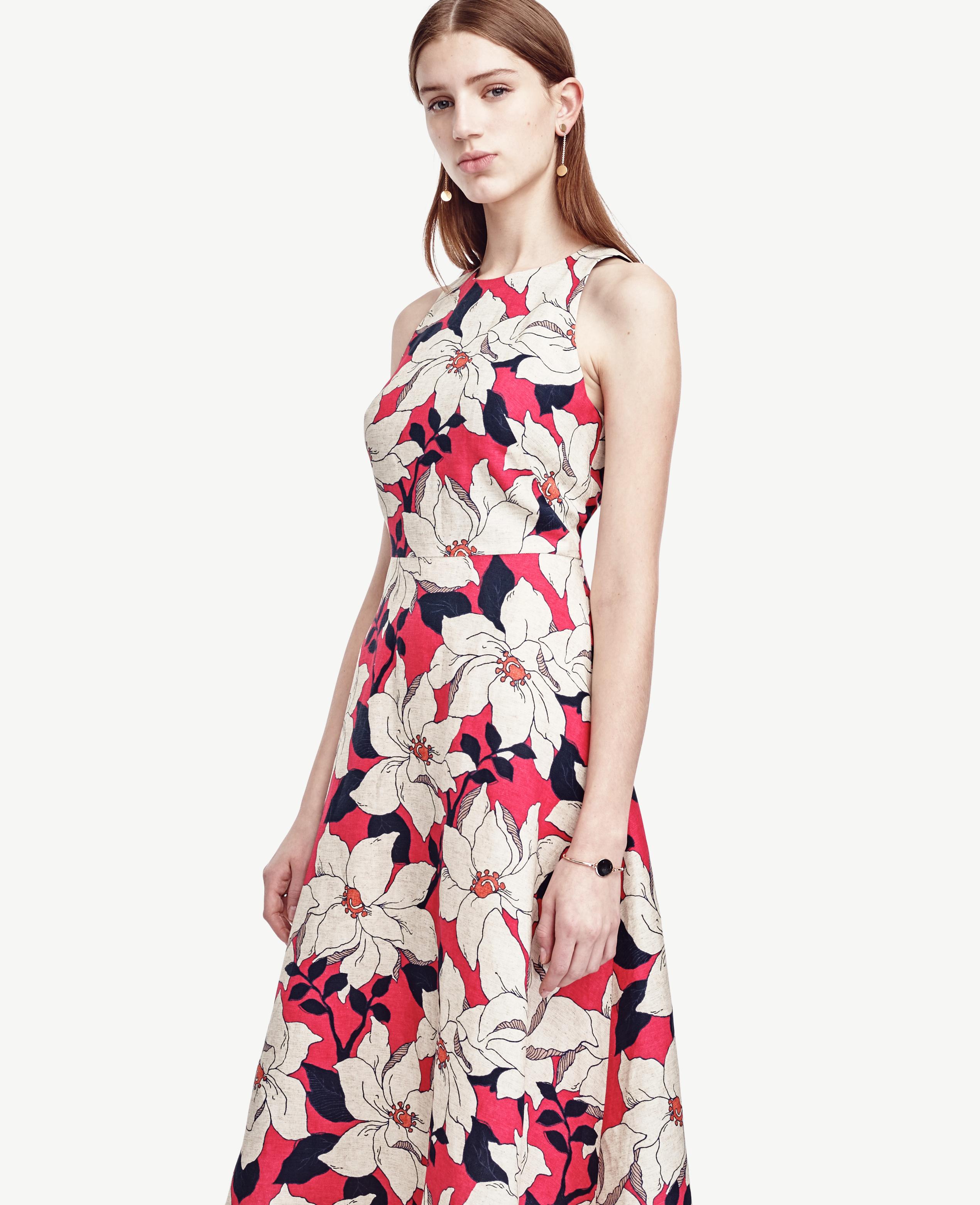 Lyst ann taylor hibiscus midi dress gallery izmirmasajfo