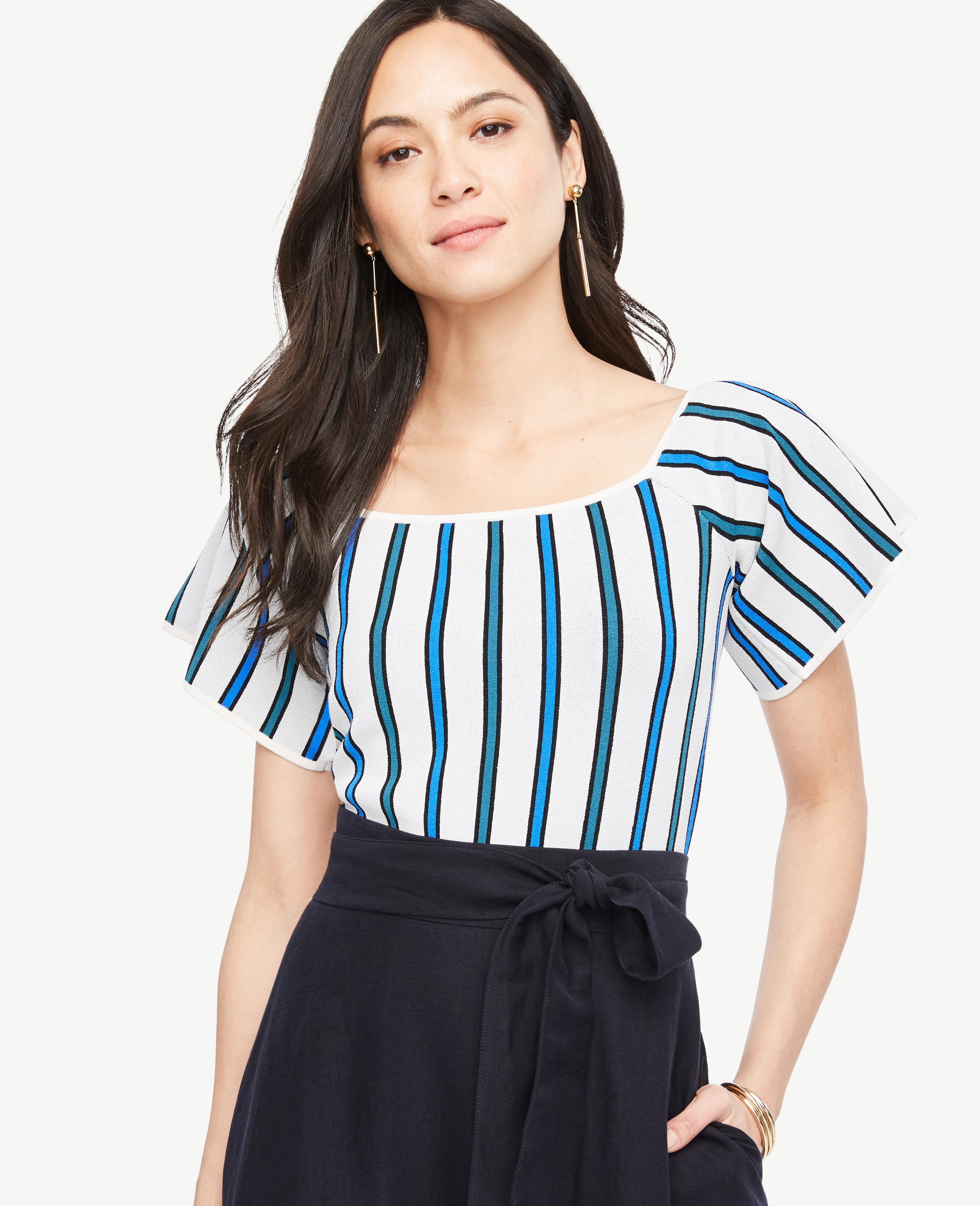 Ann taylor Striped Off The Shoulder Sweater in Blue | Lyst