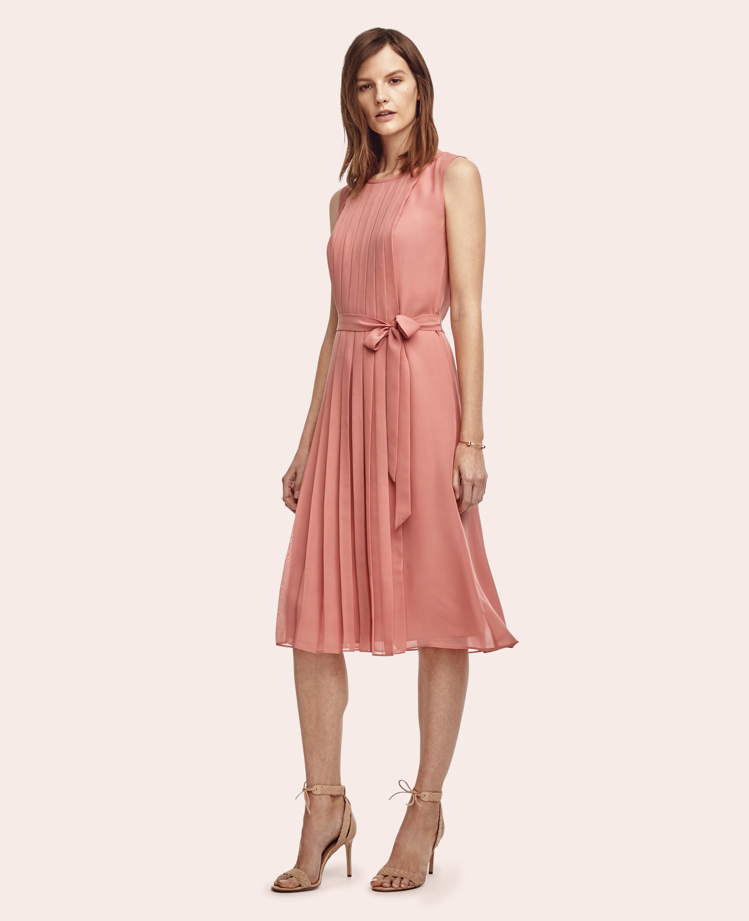 Lyst - Ann Taylor Pleated Belted Midi Dress in Pink