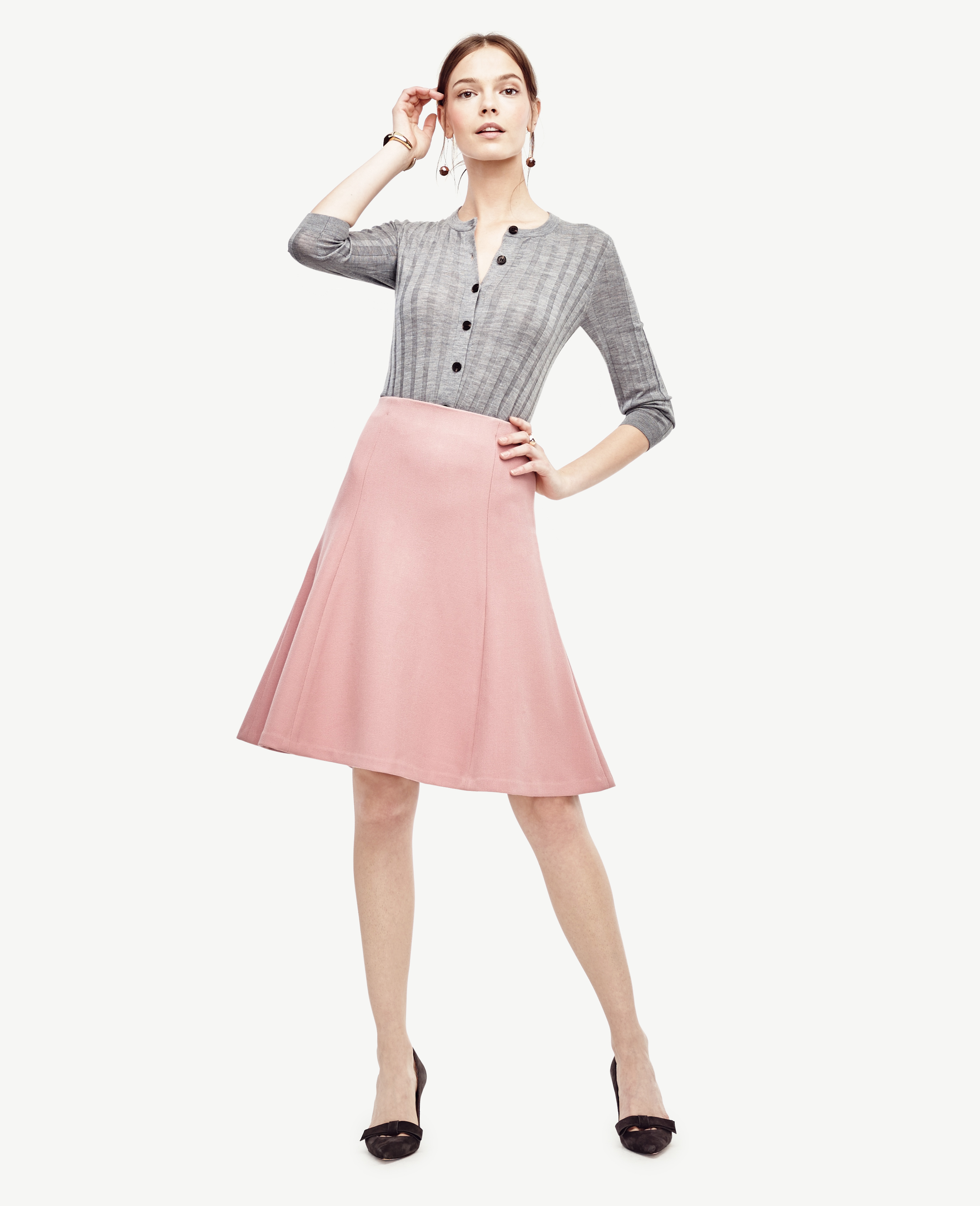 135b68978b6 Lyst - Ann Taylor Textured Twill Flounce Skirt in Pink