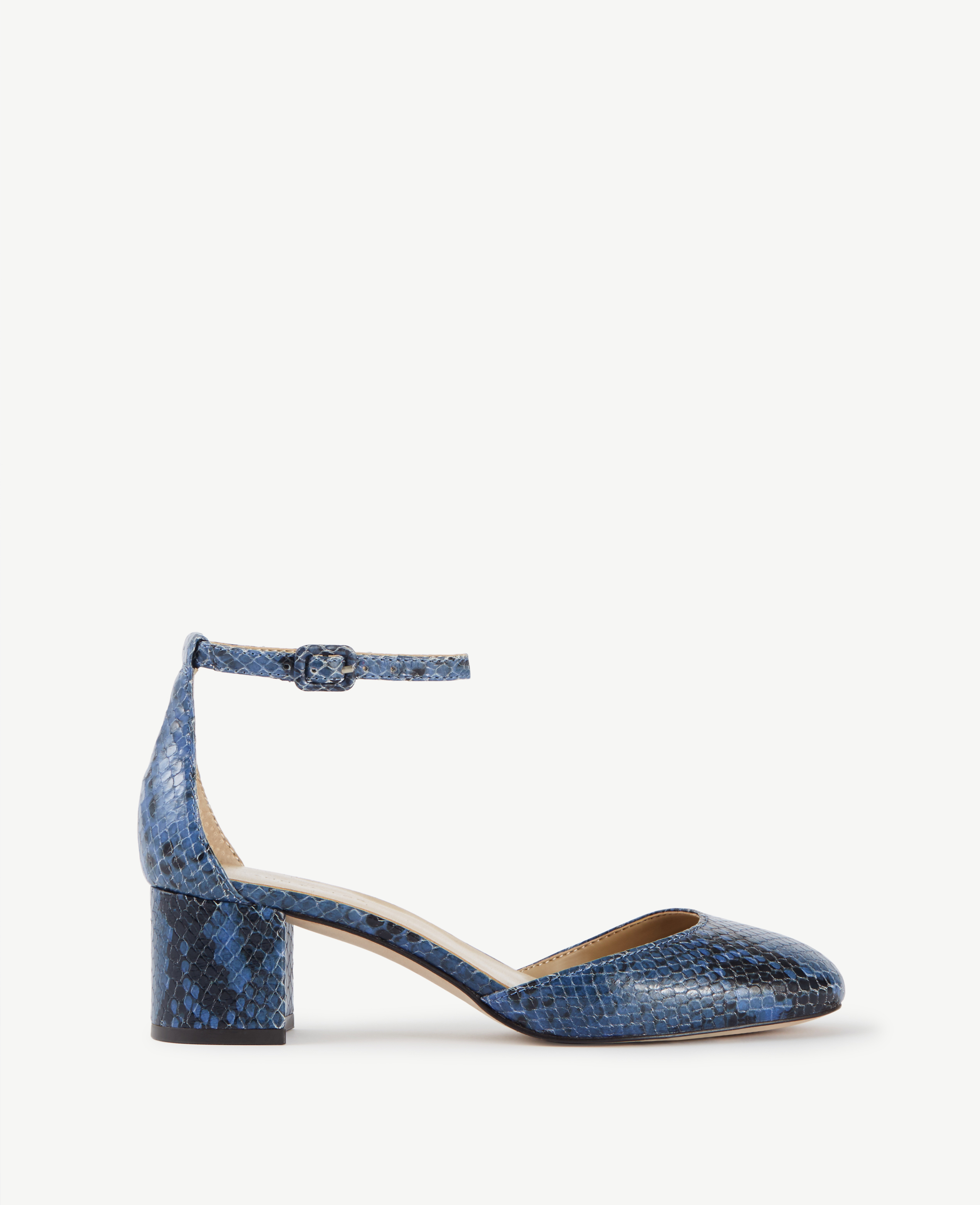 Ann taylor Haley Exotic Embossed Leather Ankle Strap Heels ...