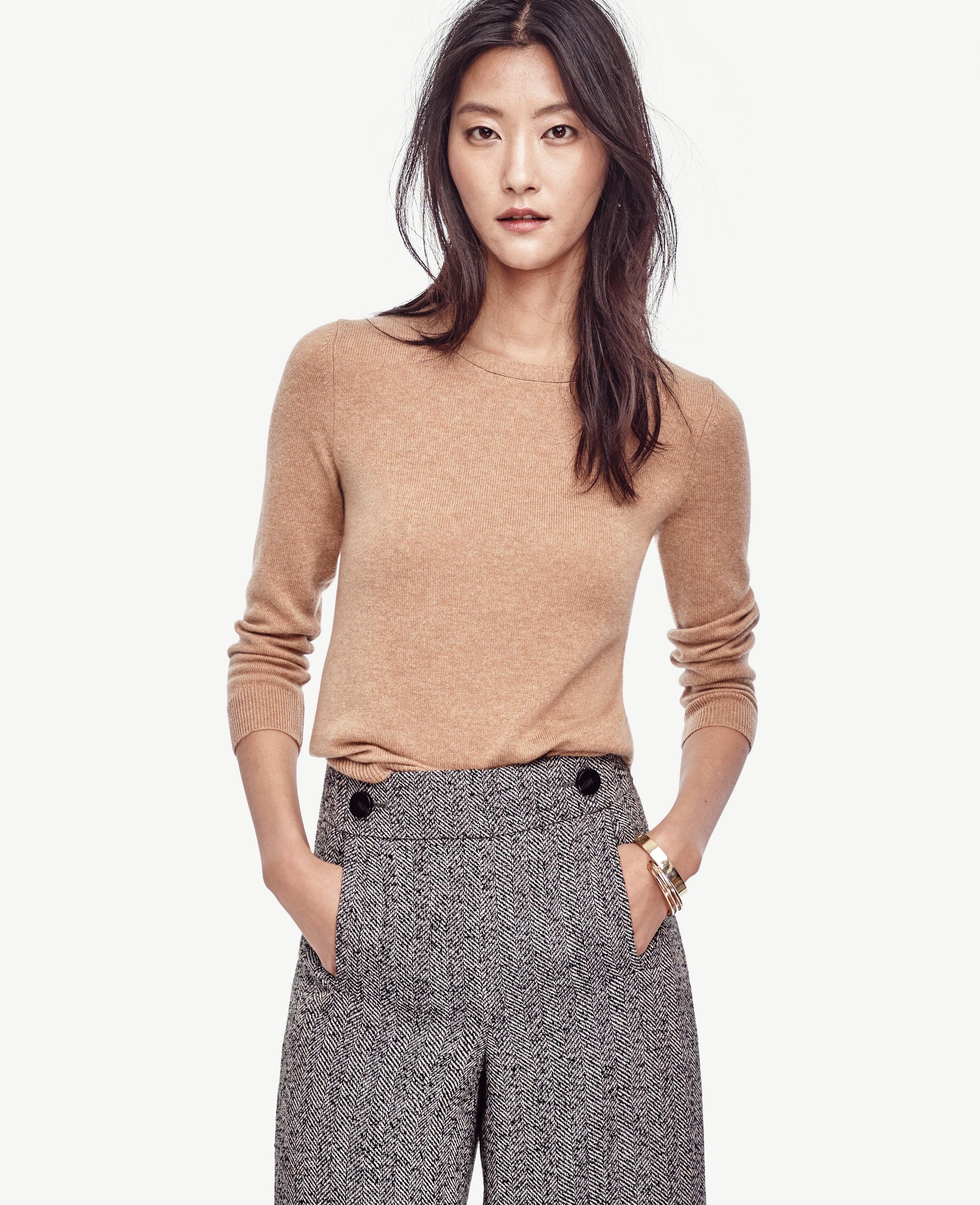 23576d8410e3 Lyst - Ann Taylor Cashmere 3 4 Sleeve Sweater