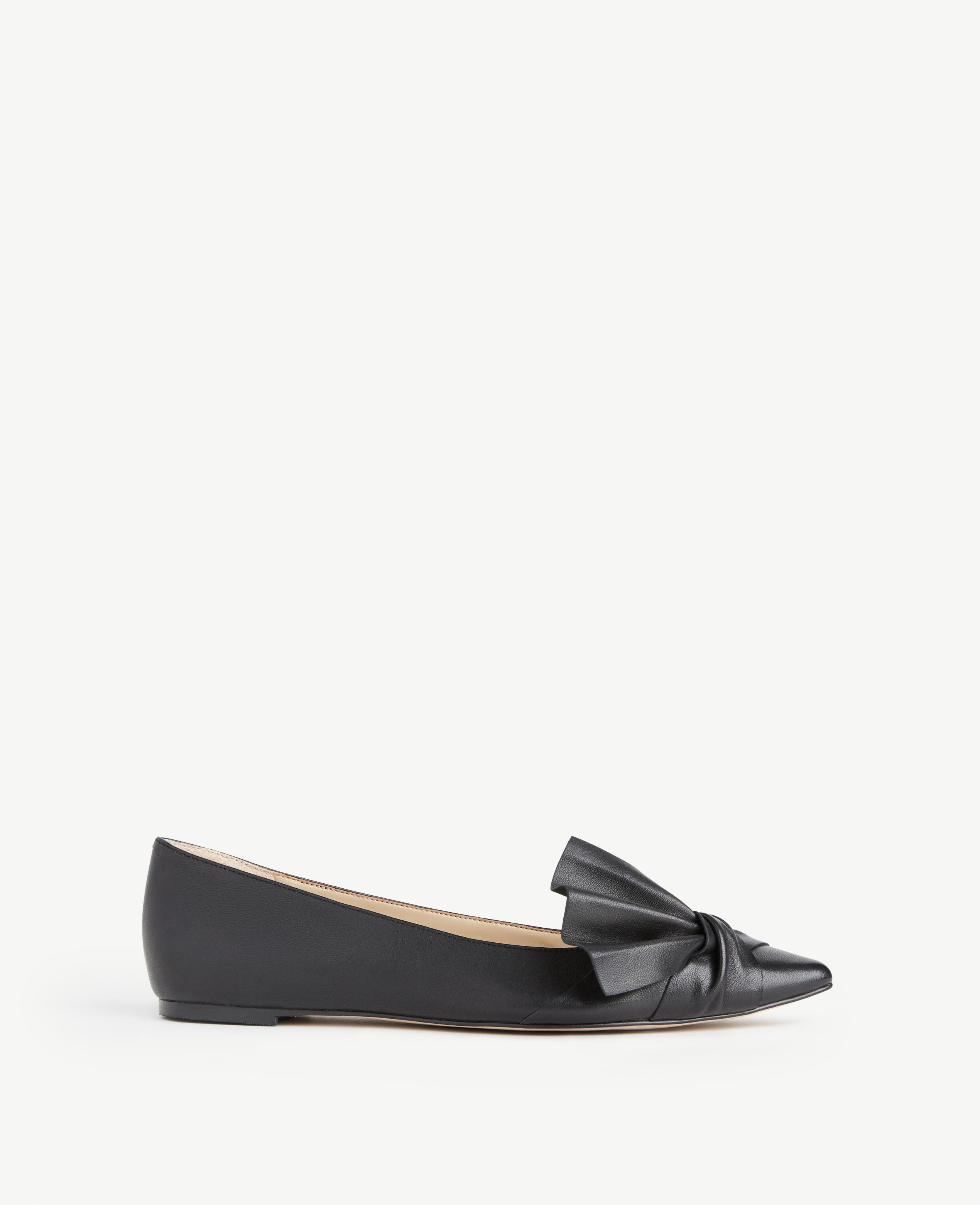 Ann Taylor Suede Eula Leather Bow Flats In Black Lyst