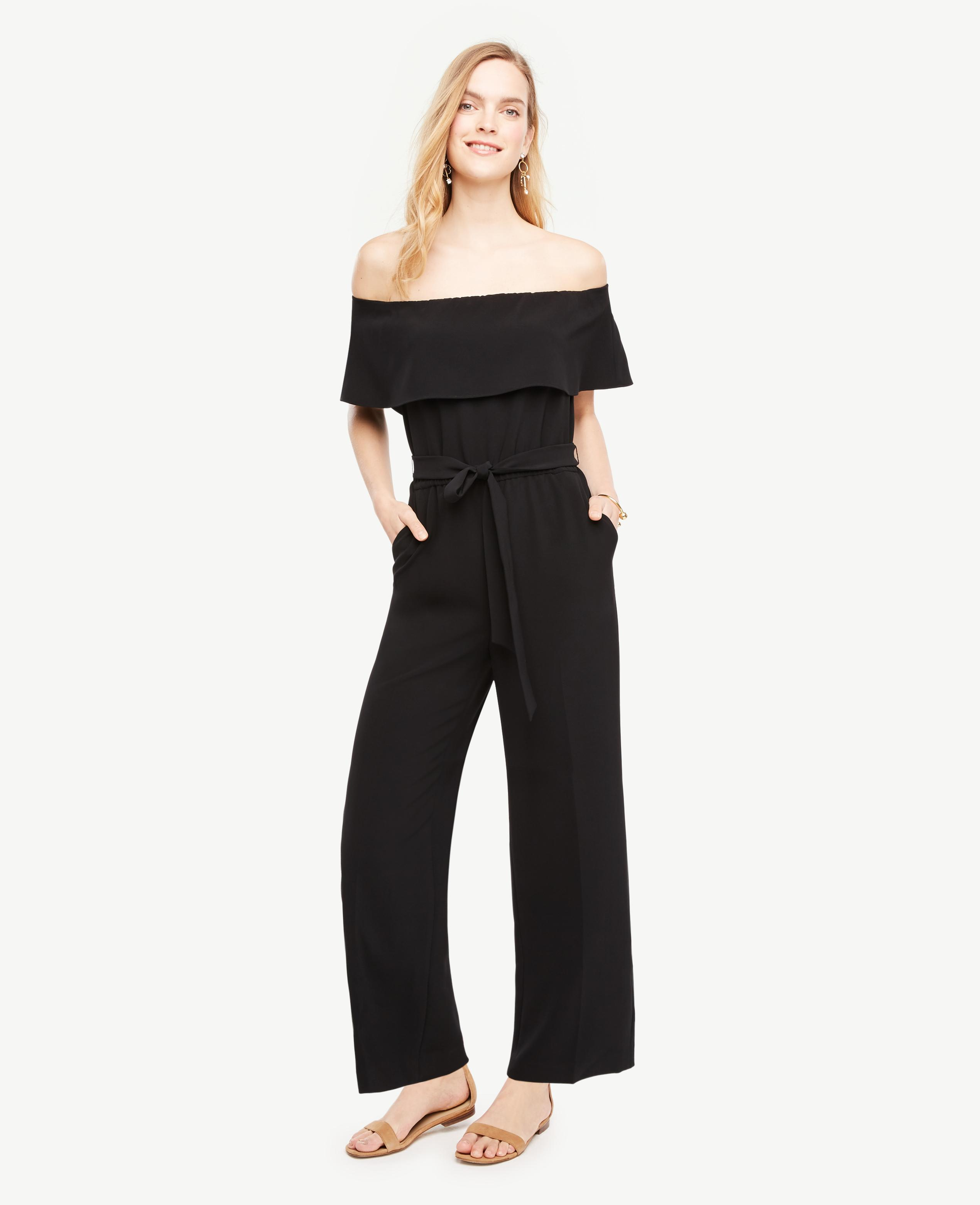 Ann taylor Tall Off The Shoulder Ruffle Jumpsuit in Black ...