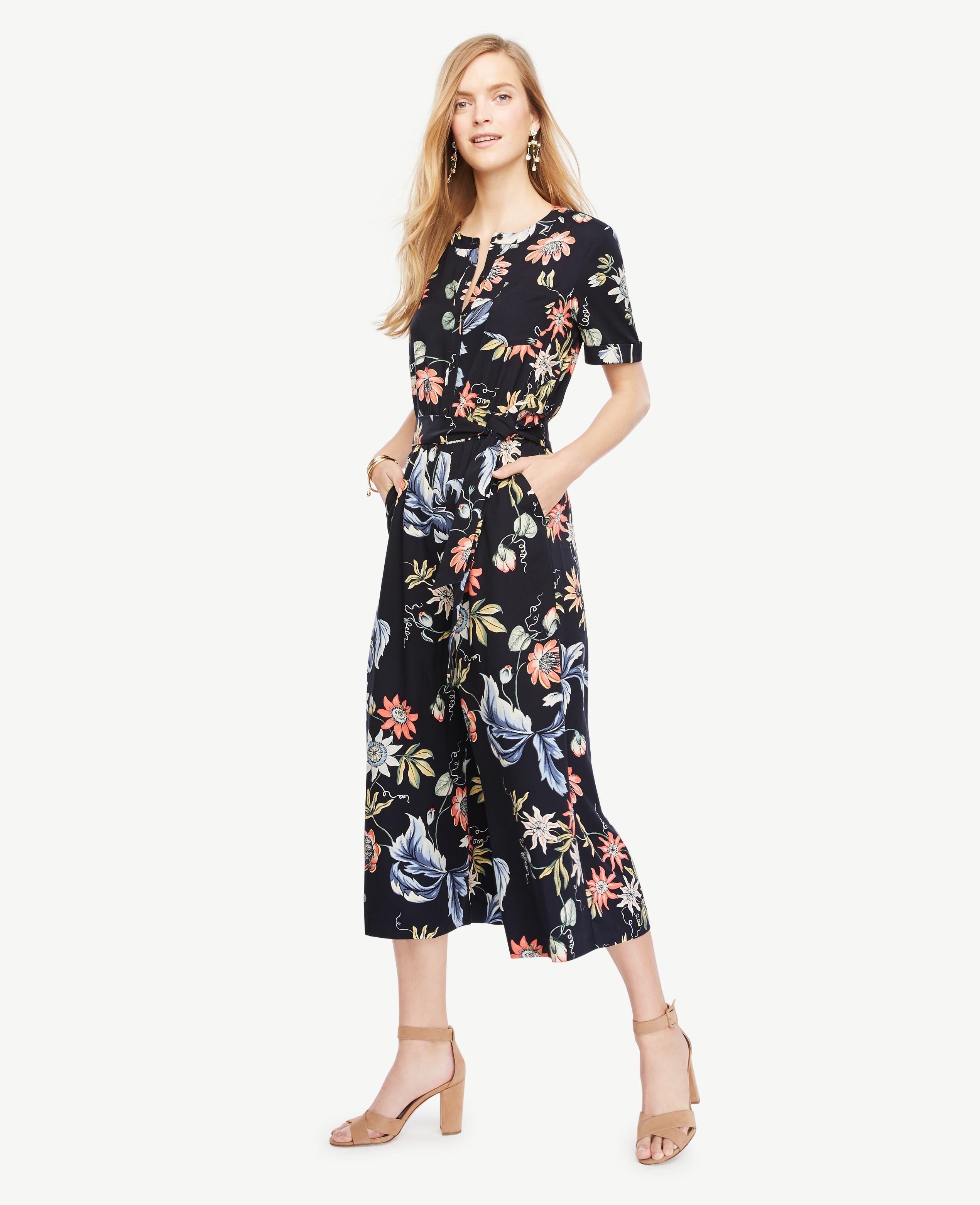 ad7debe777da Lyst - Ann Taylor Tall Wild Flower Culotte Jumpsuit in Blue