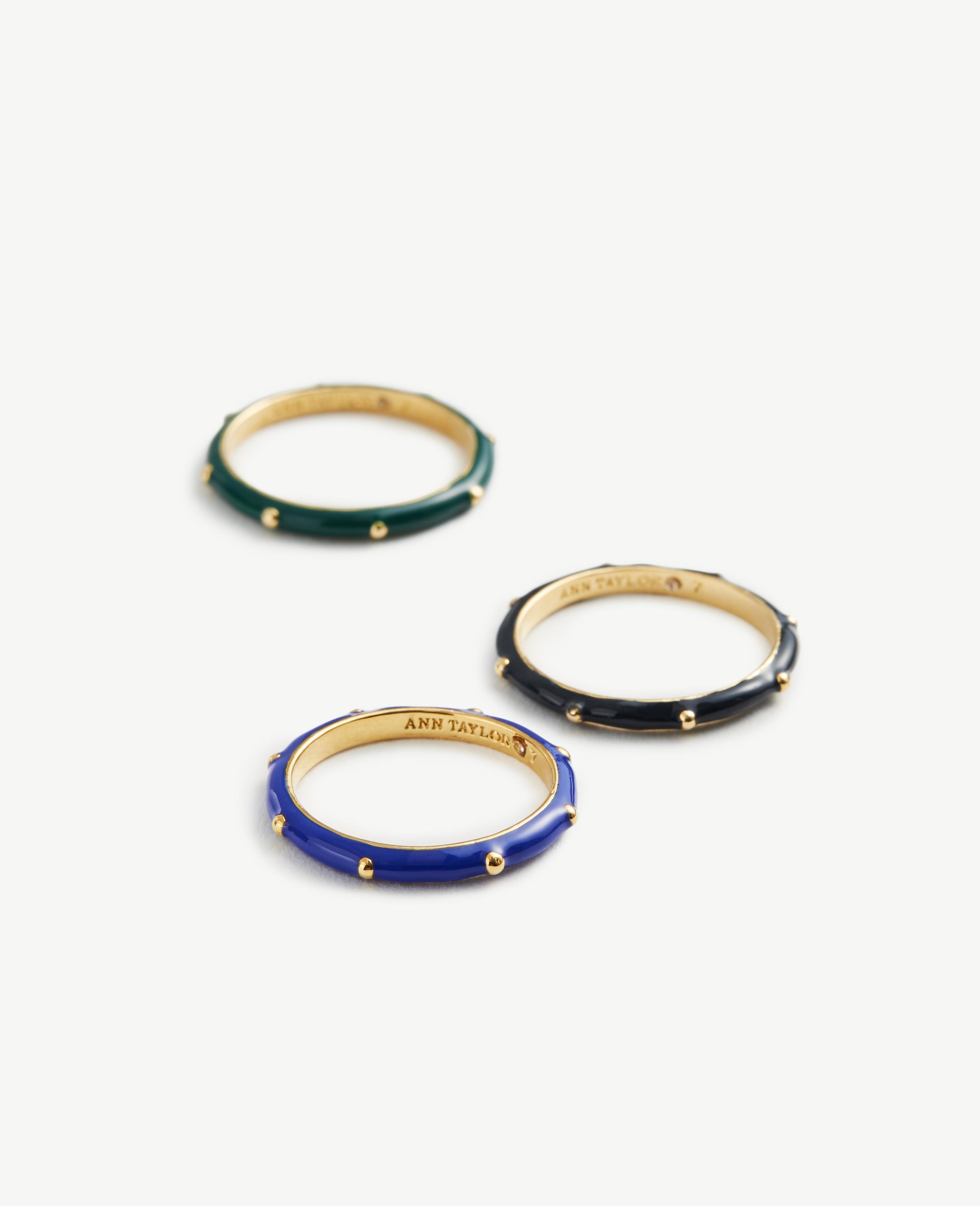 Ann Taylor Enamel Stackable Rings in Blue
