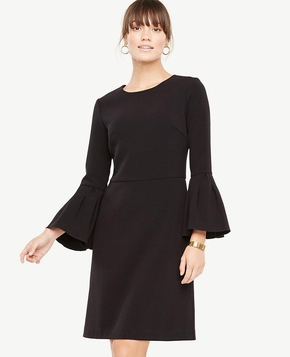 Ann Taylor Bell Sleeve Flare Dress in Black