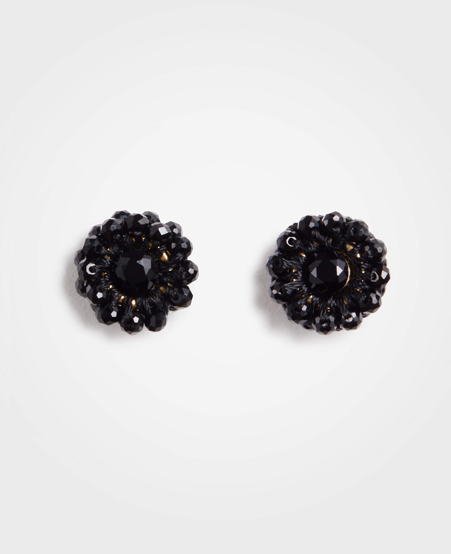Ann Taylor Women S Black Beaded Flower Stud Earrings