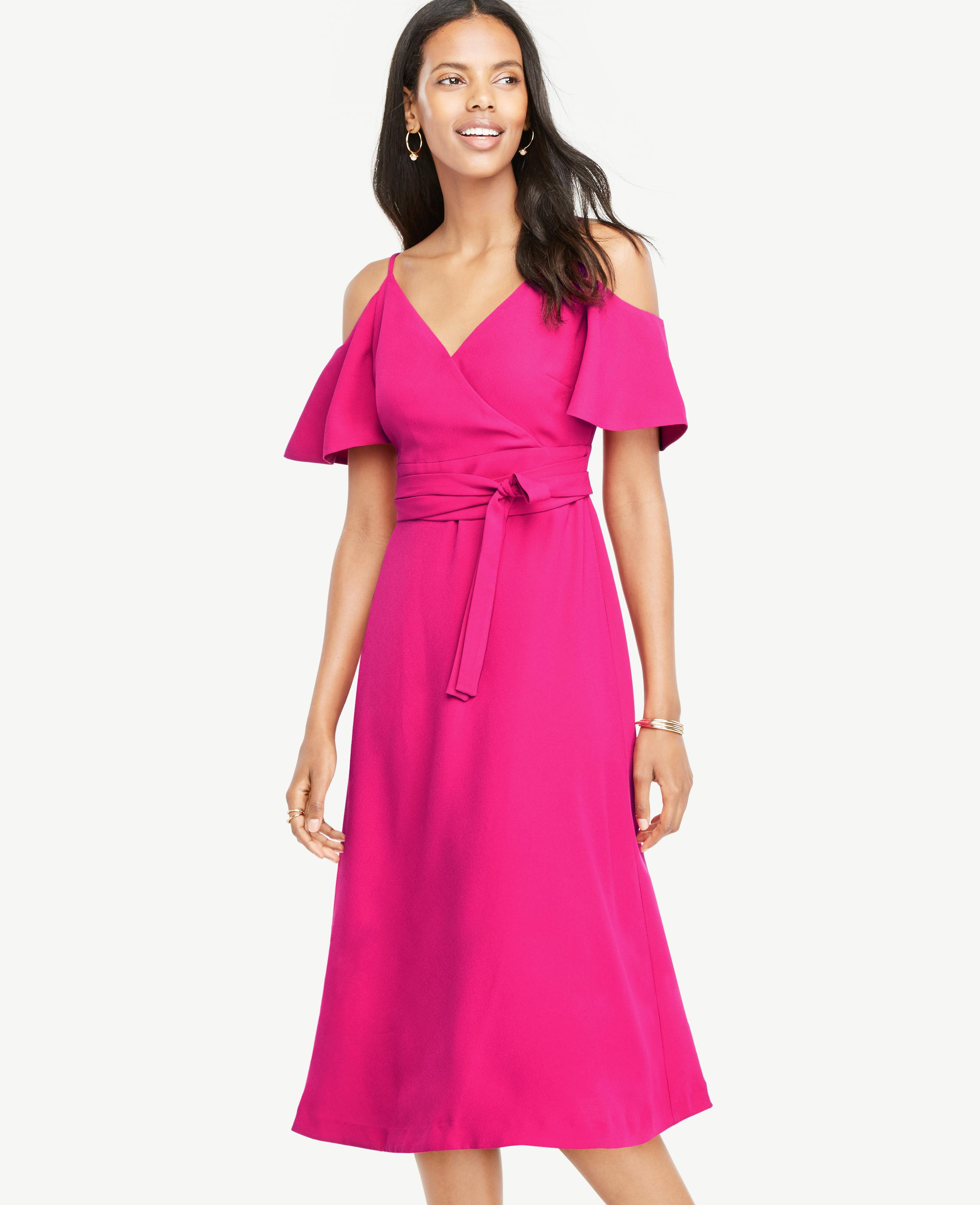 876afb78d09 Lyst - Ann Taylor Petite Cold Shoulder Belted Wrap Dress in Pink