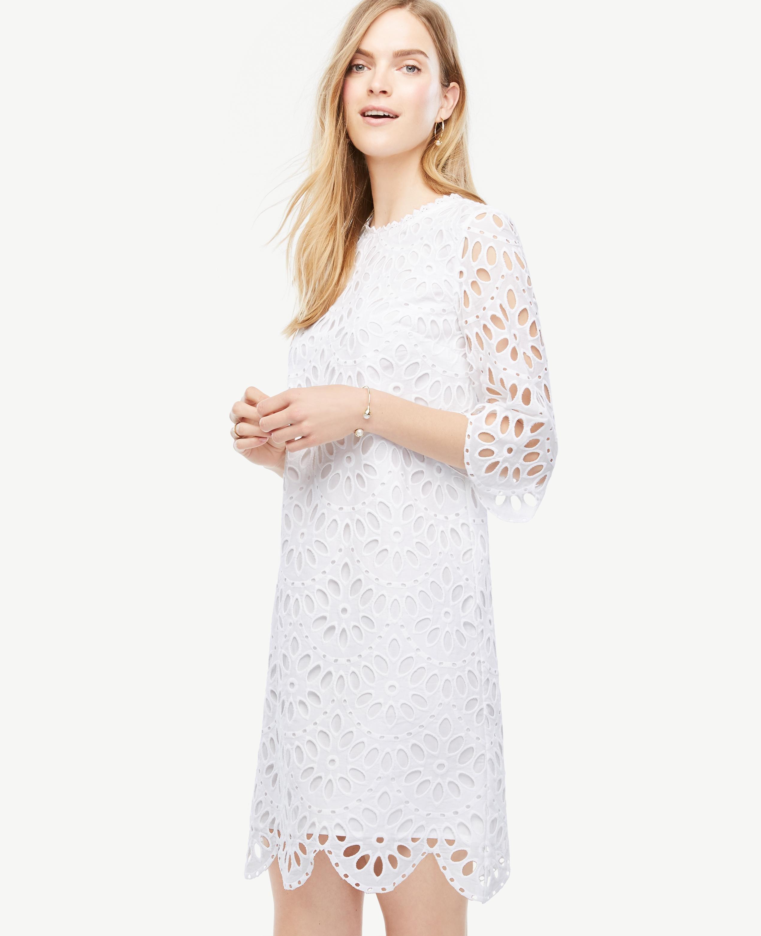 774b2e2c25f7 Lyst - Ann Taylor Scallop Eyelet Shift Dress in White
