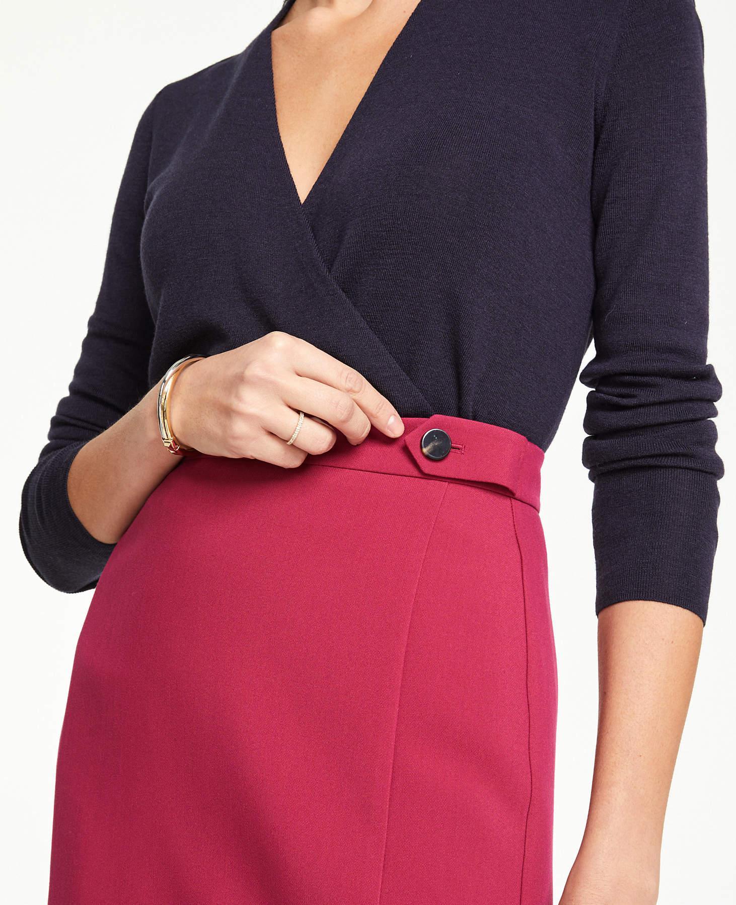 3cefb79b5d Ann Taylor Curvy Button Tab Seamed Pencil Skirt - Lyst