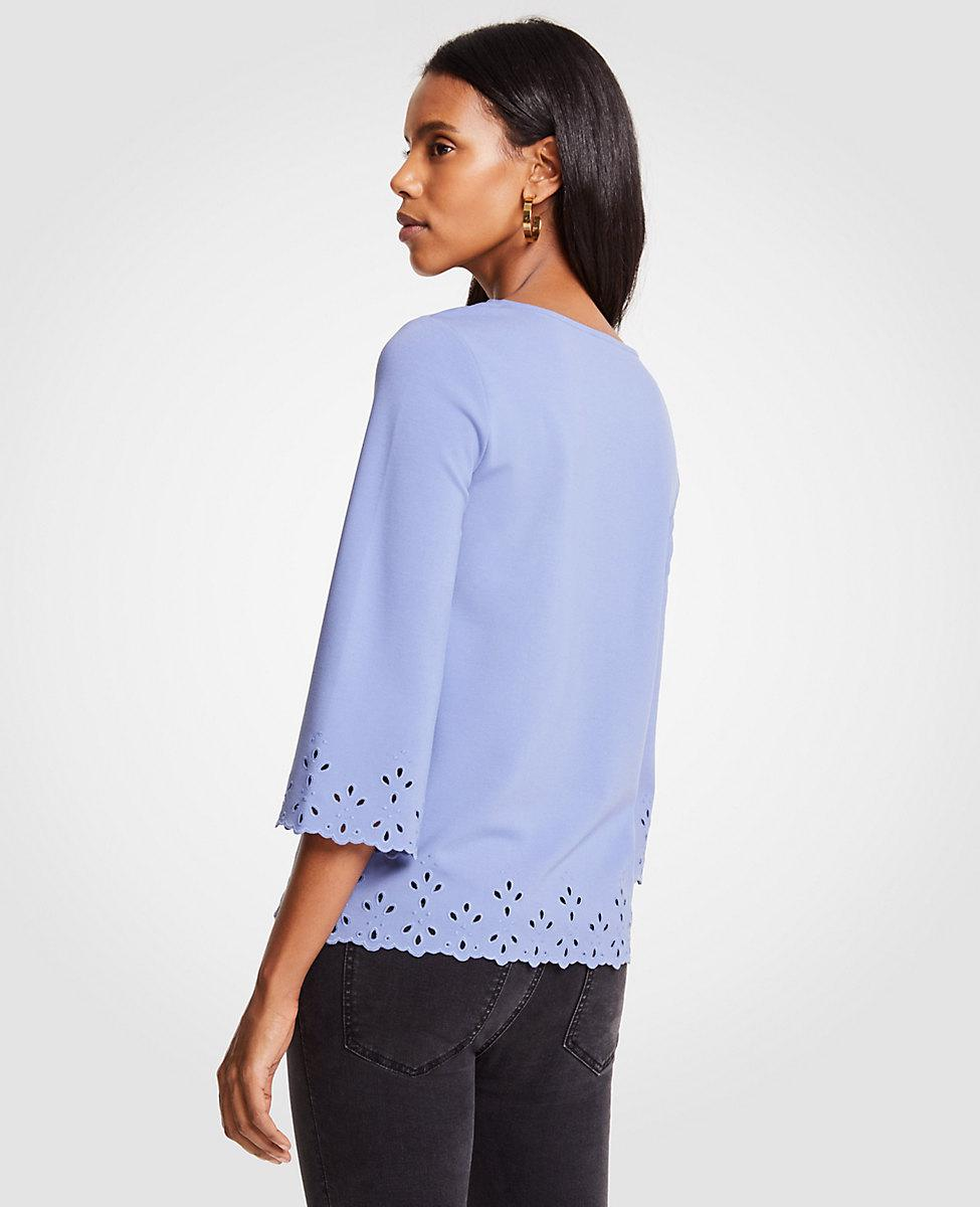 c560193329feef Lyst - Ann Taylor Petite Ponte Embroidered Scallop Top in Blue