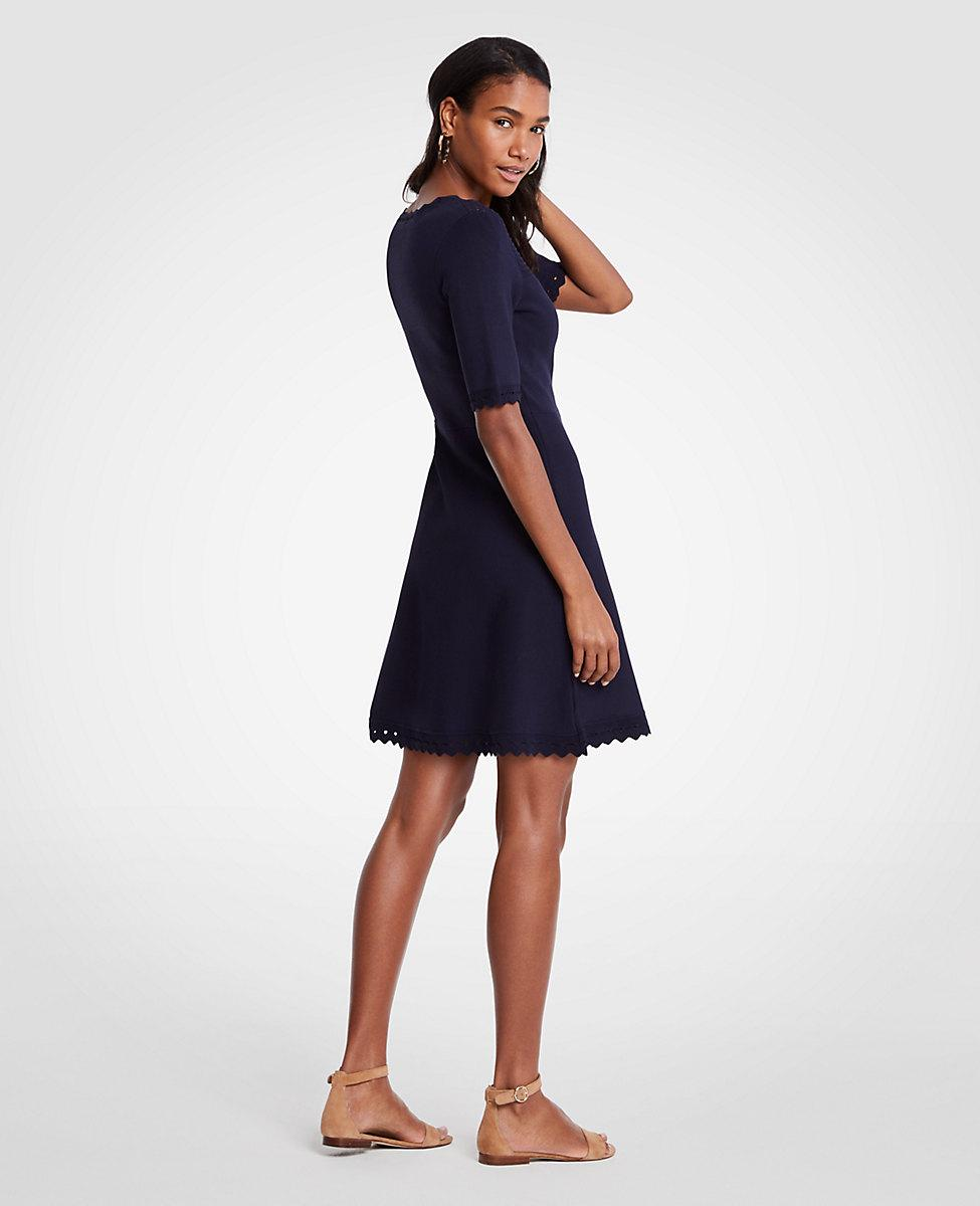 751ecb12100 Ann Taylor Cutout Flare Sweater Dress in Blue - Lyst