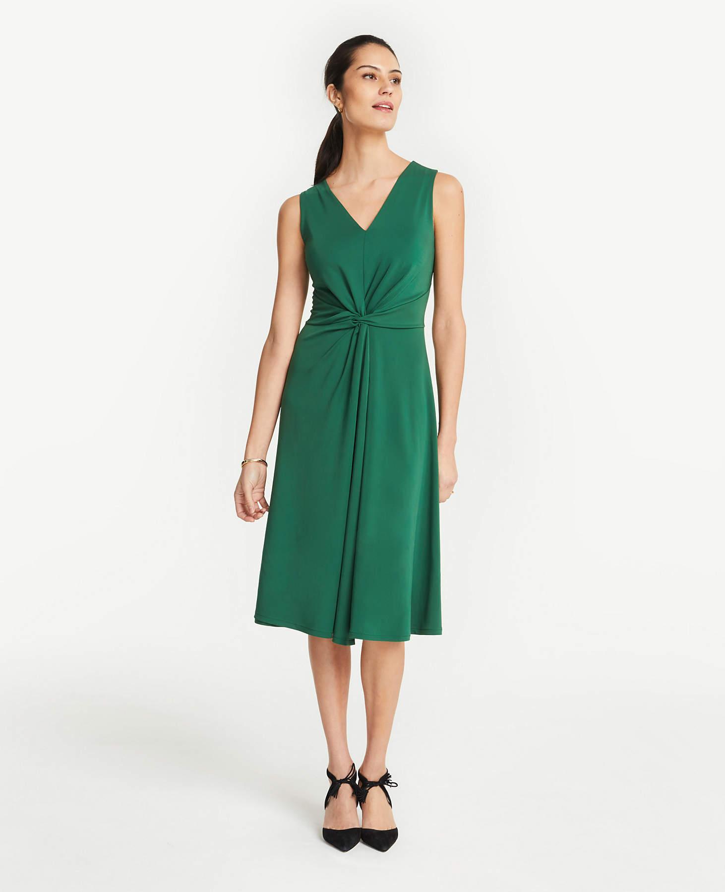 Women S Green Matte Jersey Knot Front Midi Dress