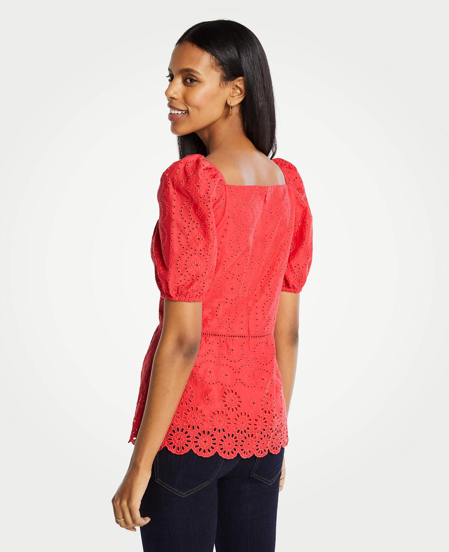 02fb0008127783 Lyst - Ann Taylor Petite Eyelet Square Neck Peplum Top in Red
