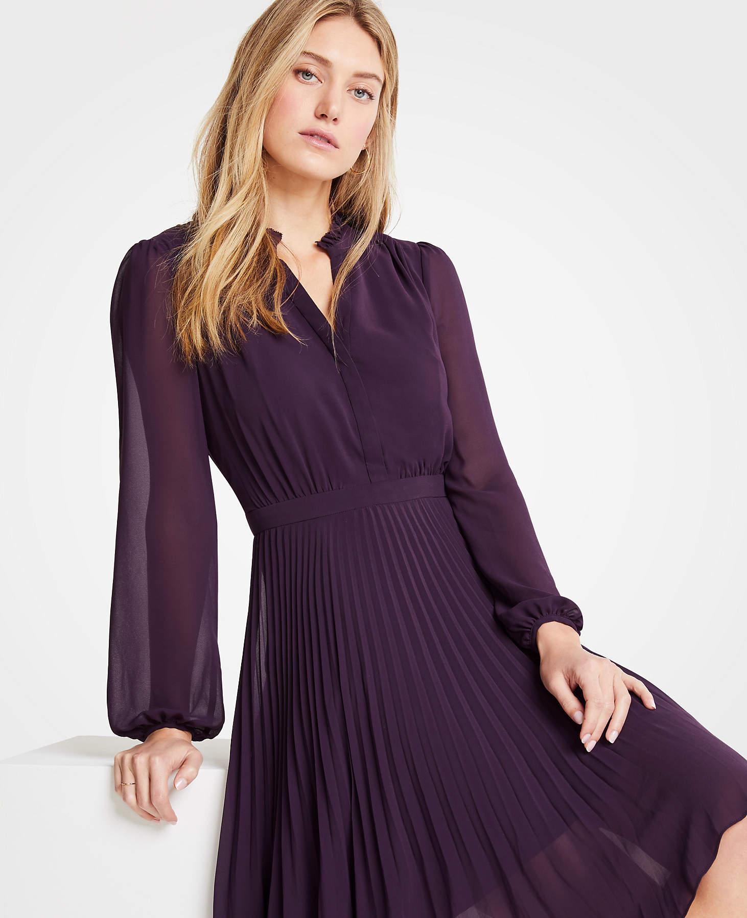 0eb1eb3f899 Ann Taylor Pleated Flare Dress in Purple - Lyst