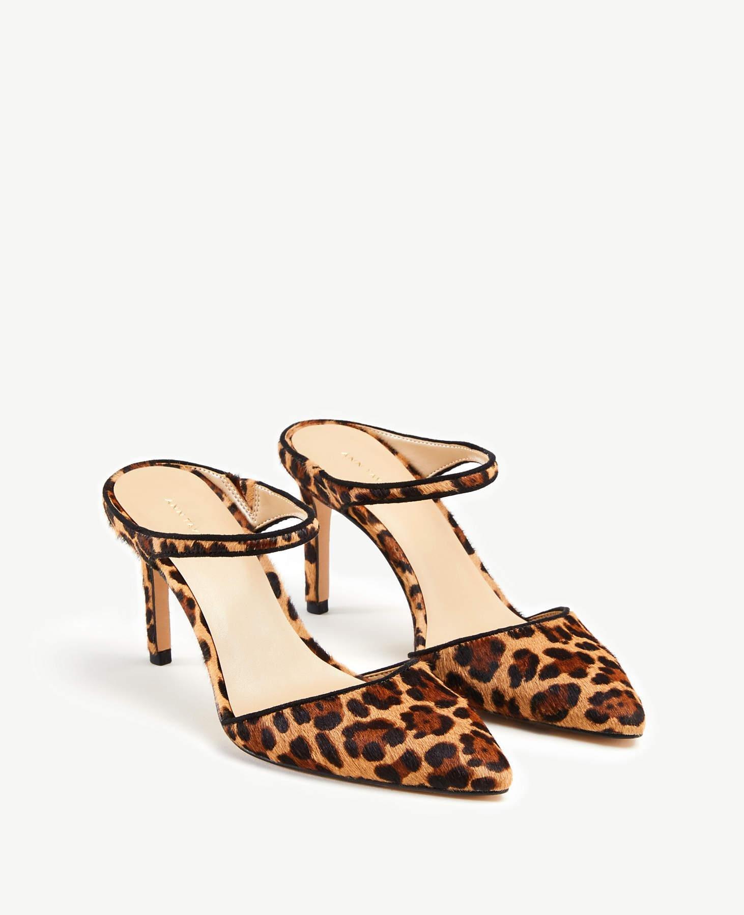 ca0a619d7aa2 Lyst - Ann Taylor Jodie Leopard Print Hair Calf Mule Pumps in Brown