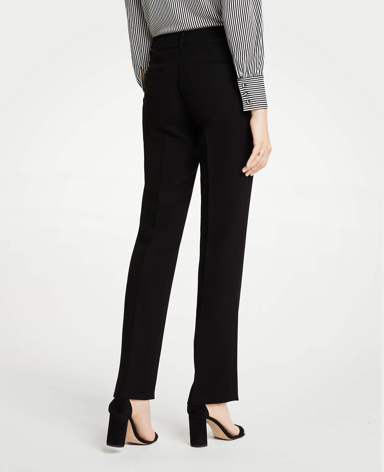Ann Taylor The Tall Straight Pant In Doubleweave - Classic Fit in Black