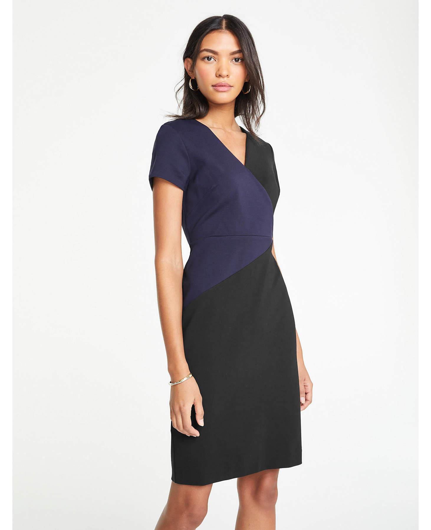 f669f71d149 Lyst - Ann Taylor The All-day Ponte Dress In Colorblock in Black