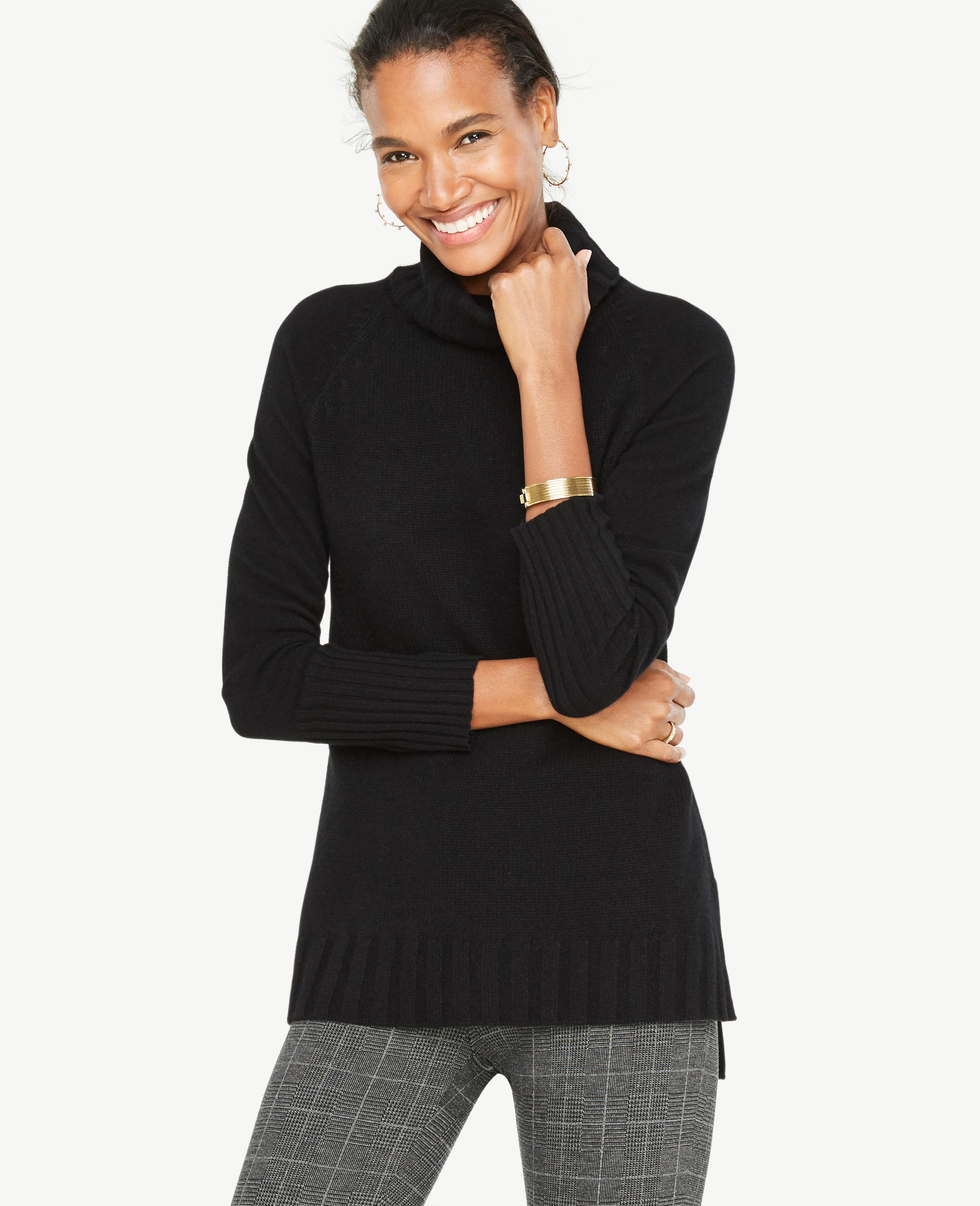 Ann taylor Cashmere Turtleneck Tunic Sweater in Black | Lyst