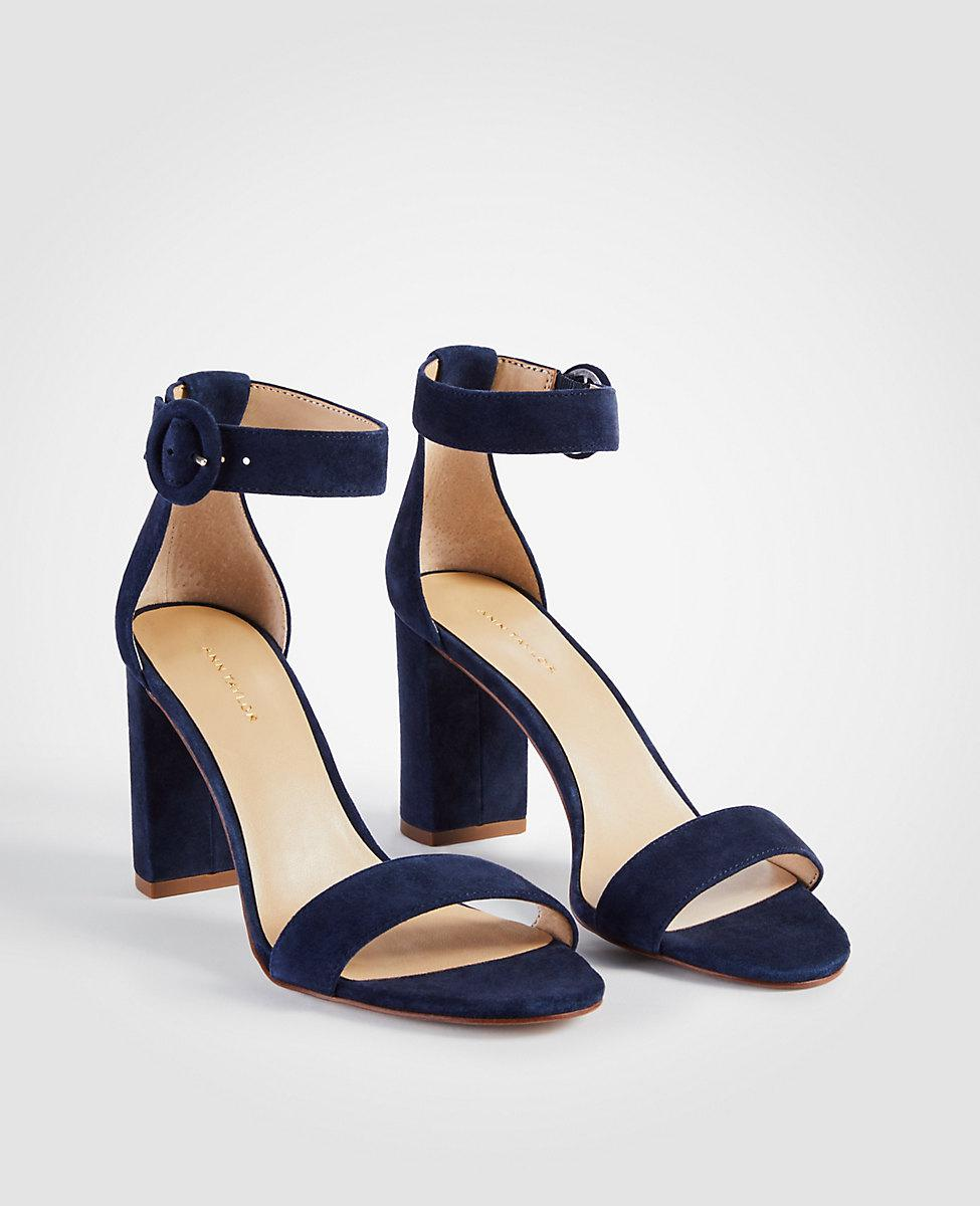 b16fb7877df Ann Taylor Leannette Suede Leather Block Heel Sandals in Blue - Lyst