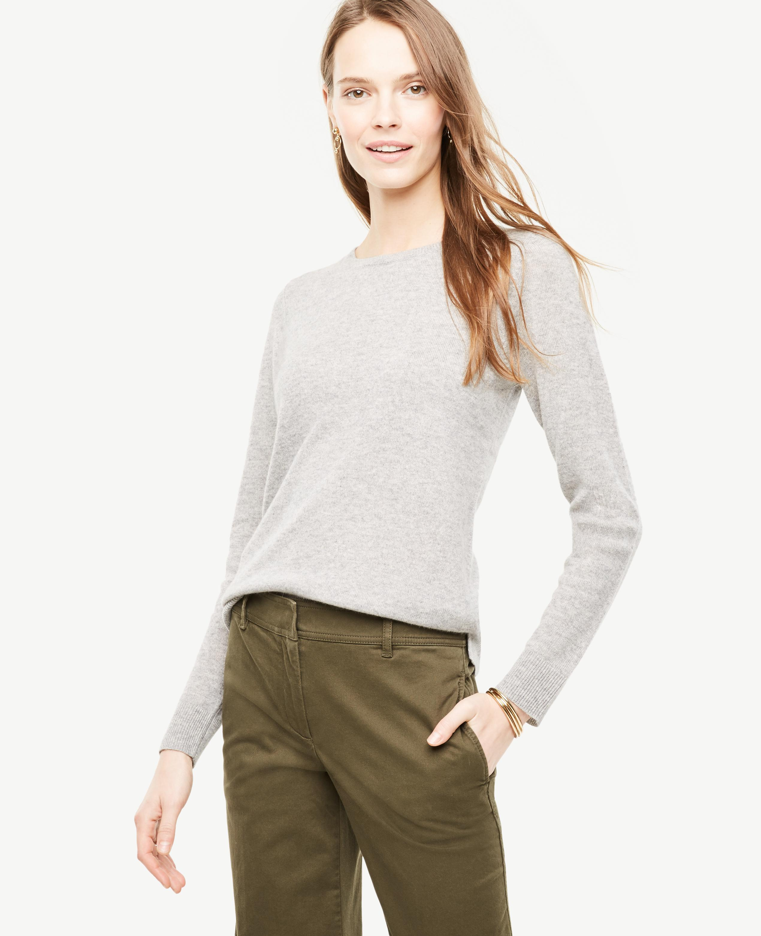 Ann taylor Cashmere Crew Neck Sweater in White | Lyst
