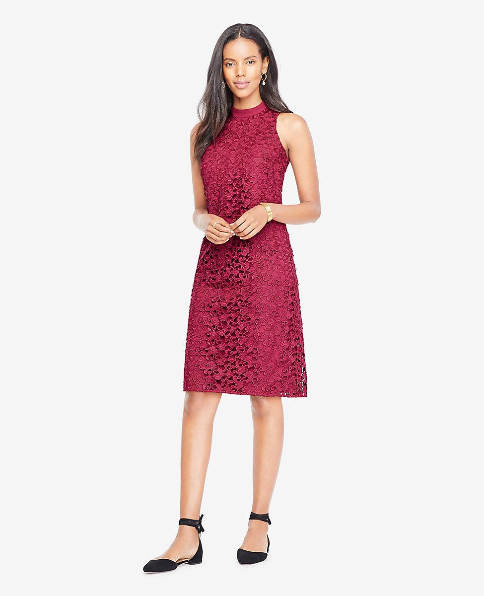 Lyst Ann Taylor Floral Lace Mock Neck Dress In Red