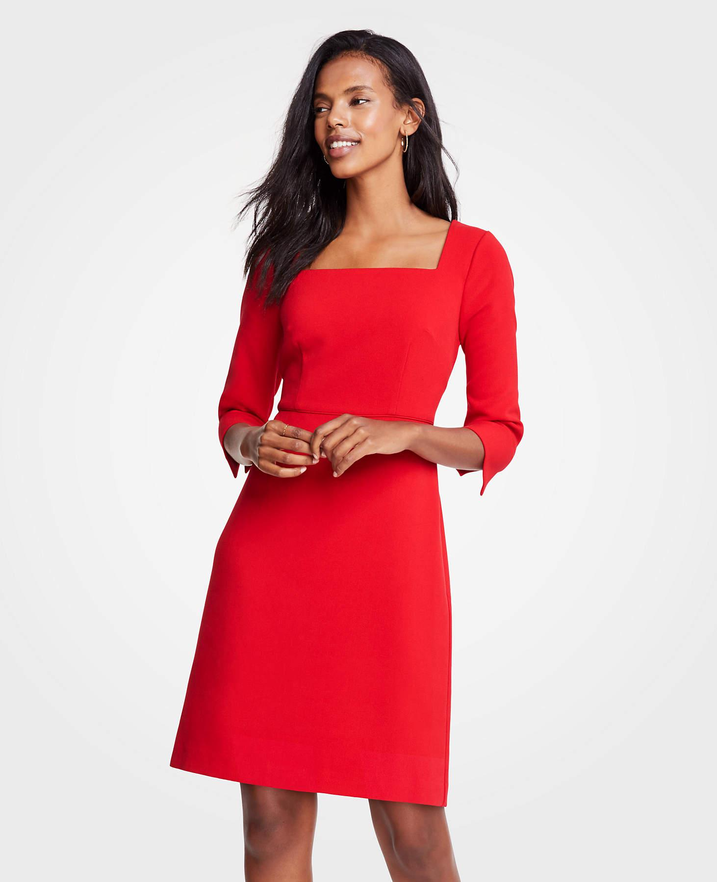 86681158ac Lyst - Ann Taylor Tall Doubleweave Square Neck Flare Dress in Red