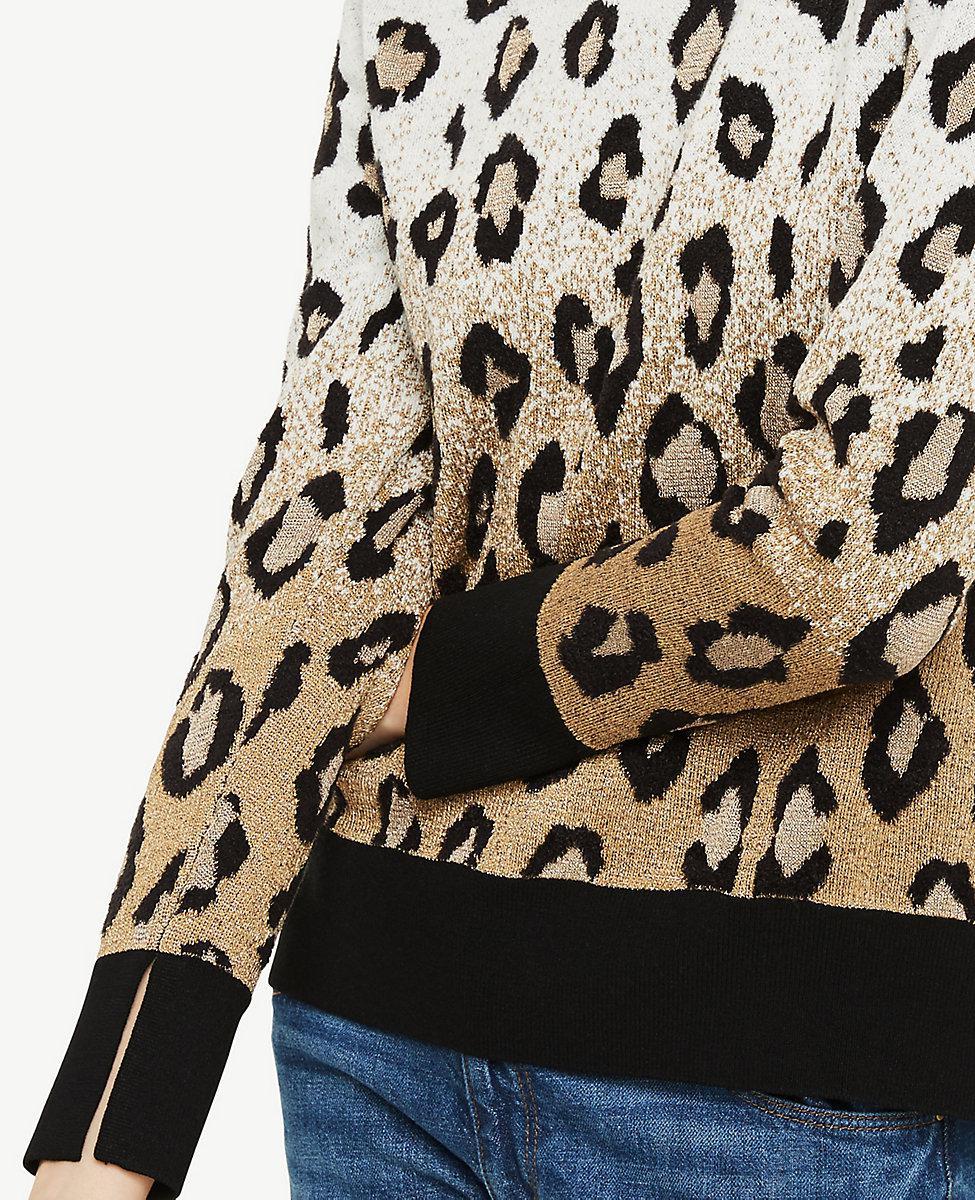 82e1c492832a96 Ann Taylor Leopard Jacquard Sweater - Lyst